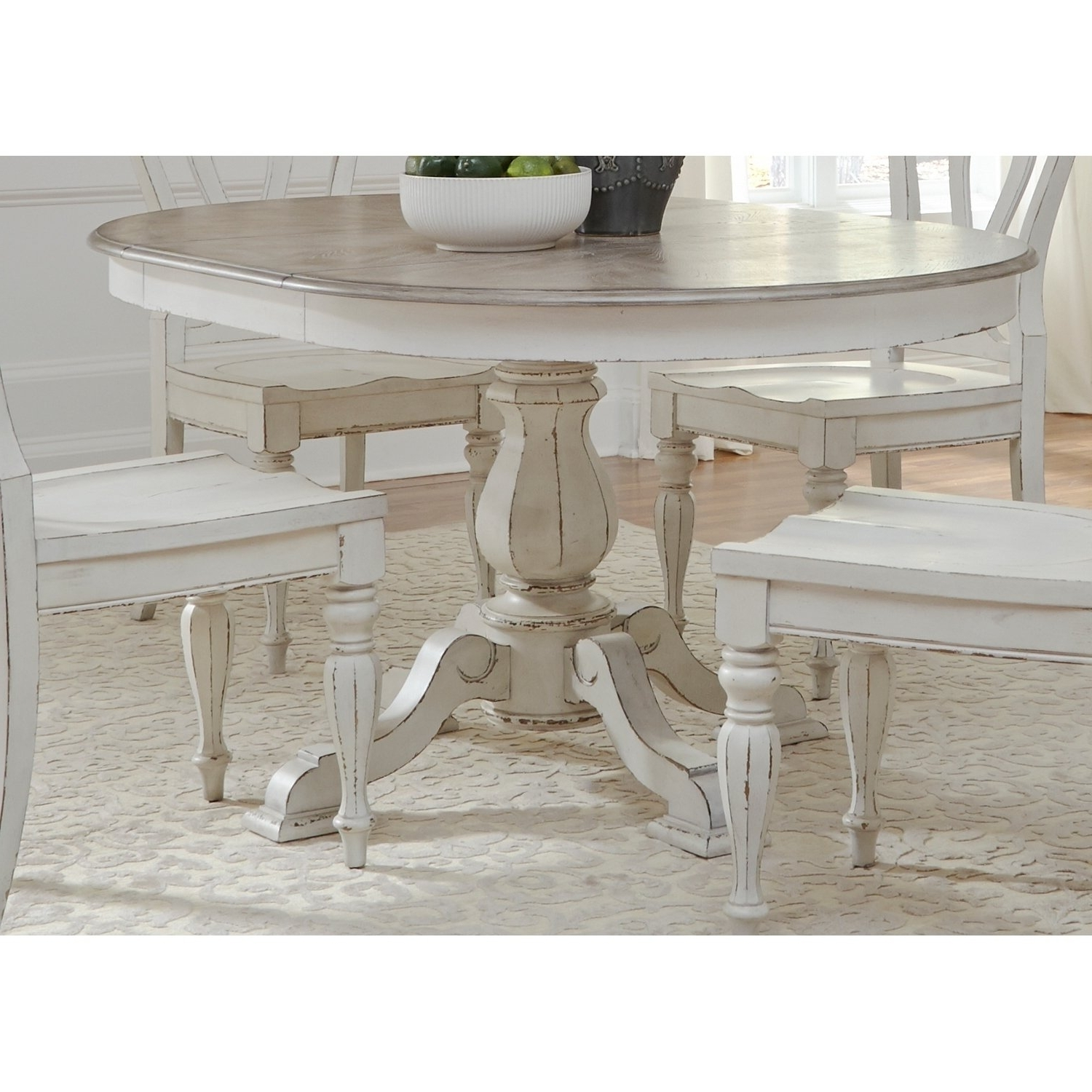 Shop Magnolia Manor Antique White Pedestal Table – Antique White Throughout Recent Magnolia Home English Country Oval Dining Tables (View 21 of 25)