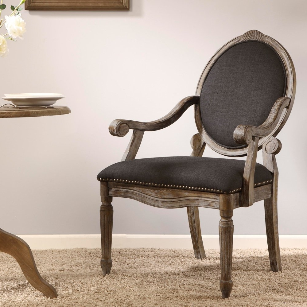 Shop Maison Rouge Brentwood Grey Dining Armchair – Free Shipping Within Most Recent Caira Black 5 Piece Round Dining Sets With Diamond Back Side Chairs (View 21 of 25)