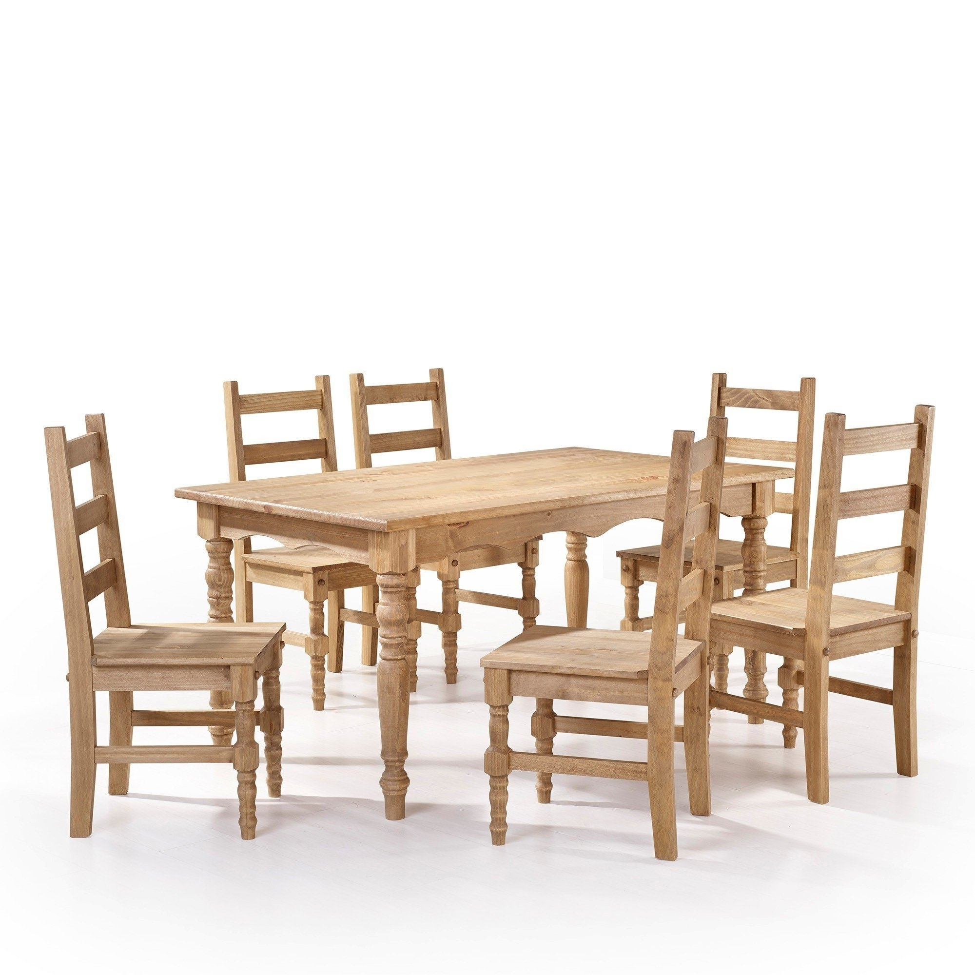 Shop Manhattan Comfort Jay 7 Piece Solid Wood Dining Set With 6 Inside Most Up To Date Helms 6 Piece Rectangle Dining Sets With Side Chairs (View 12 of 25)
