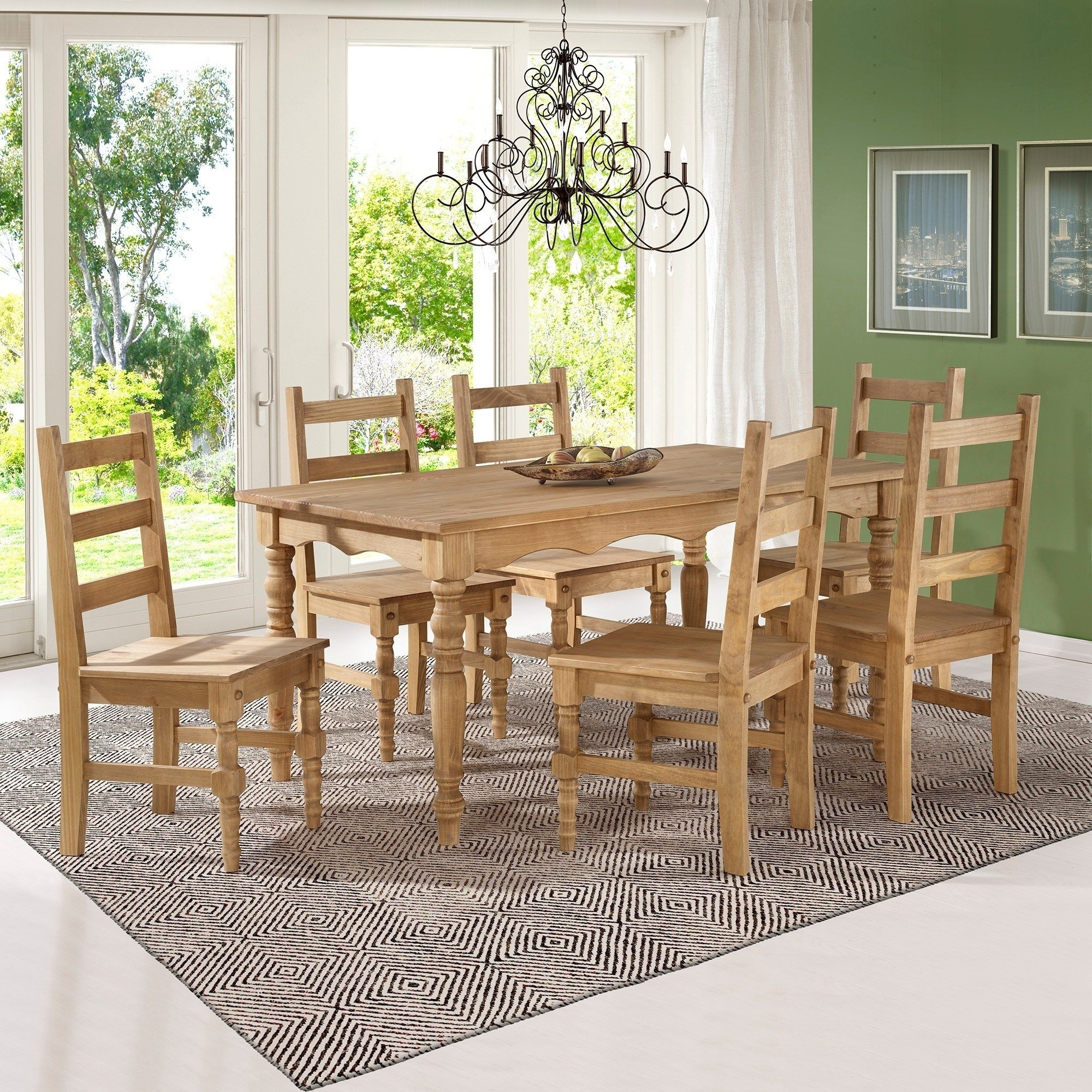 Shop Manhattan Comfort Jay 7 Piece Solid Wood Dining Set With 6 Intended For Recent Helms 7 Piece Rectangle Dining Sets With Side Chairs (View 18 of 25)