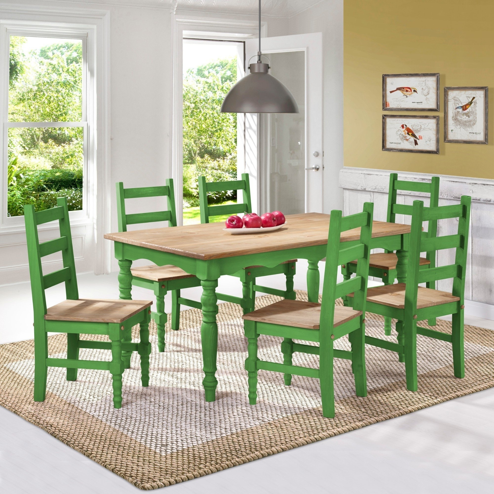 Shop Manhattan Comfort Jay 7 Piece Solid Wood Dining Set With 6 With Regard To 2018 Helms 7 Piece Rectangle Dining Sets With Side Chairs (View 12 of 25)