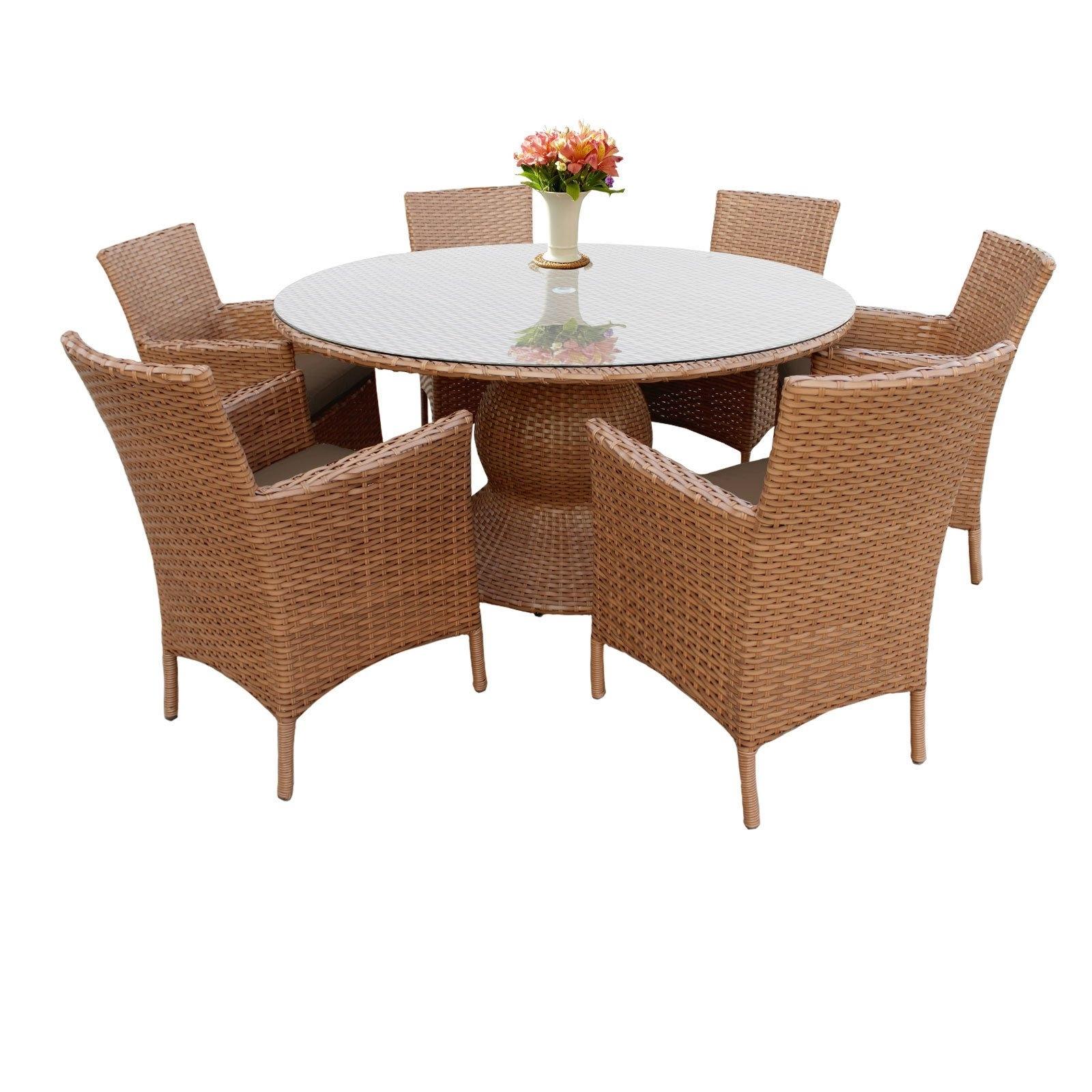 Shop Outdoor Home Bayou Wicker 60 Inch Outdoor Patio Dining Table Regarding 2018 Valencia 72 Inch 7 Piece Dining Sets (View 22 of 25)