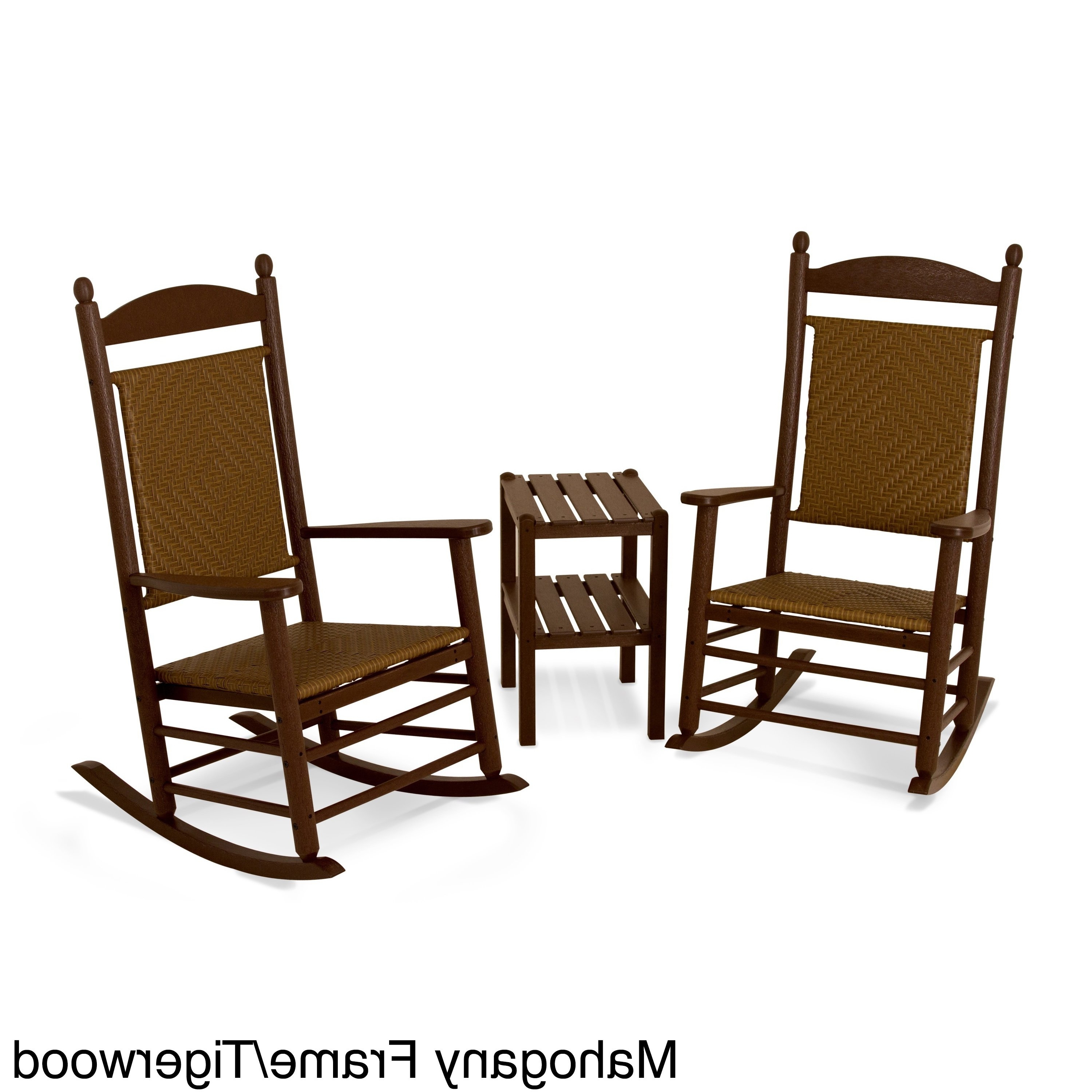 Shop Polywood Jefferson 3 Piece Woven Rocker Set – Free Shipping With Well Known Jefferson Extension Round Dining Tables (View 13 of 25)