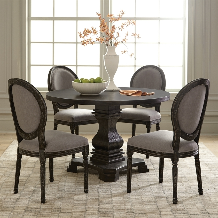 Shop Scott Living Antique Black Round Dining Table At Lowes With Regard To Famous Dark Round Dining Tables (View 22 of 25)