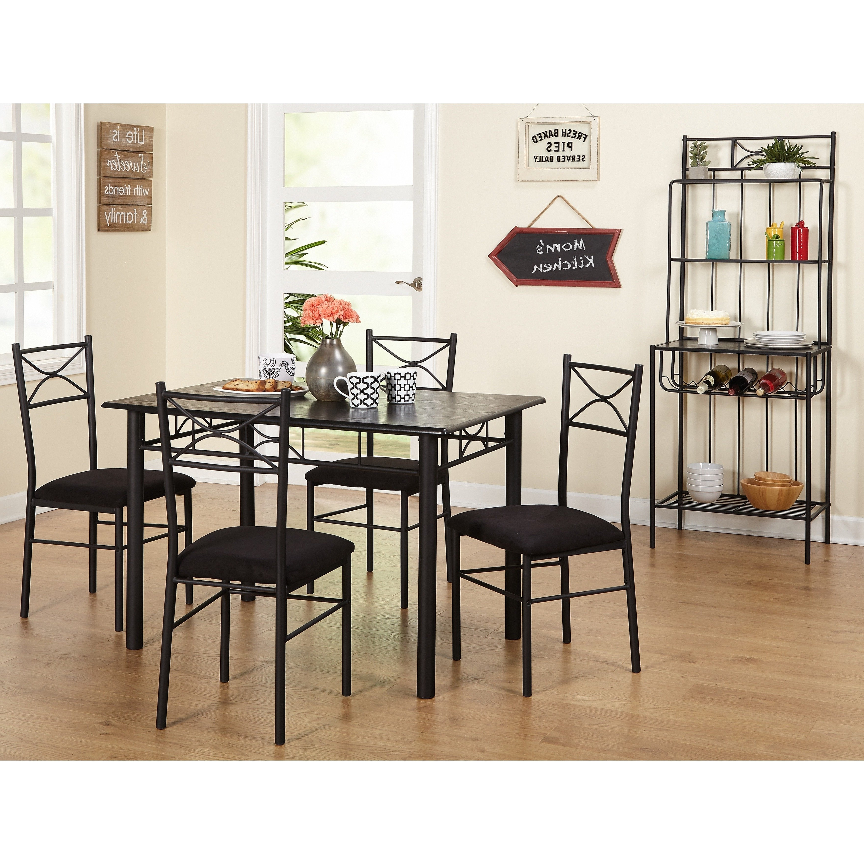 Shop Simple Living Valencia 6 Piece Metal Dining Set With Baker's With Most Current Valencia 3 Piece Counter Sets With Bench (View 4 of 25)