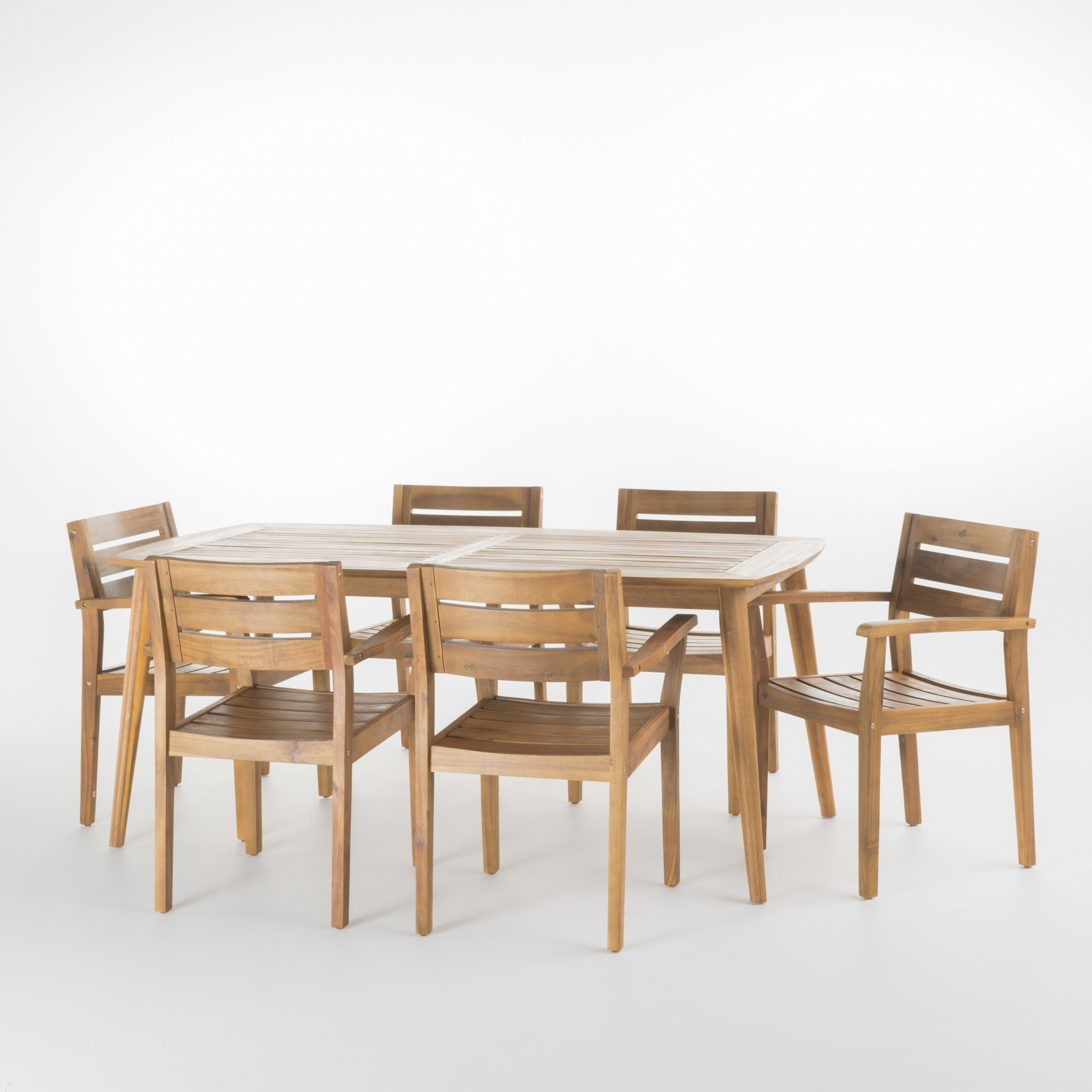 Shop Stamford Outdoor 7 Piece Rectangle Acacia Wood Dining Set Intended For Most Recent Laurent 7 Piece Rectangle Dining Sets With Wood And Host Chairs (View 20 of 25)