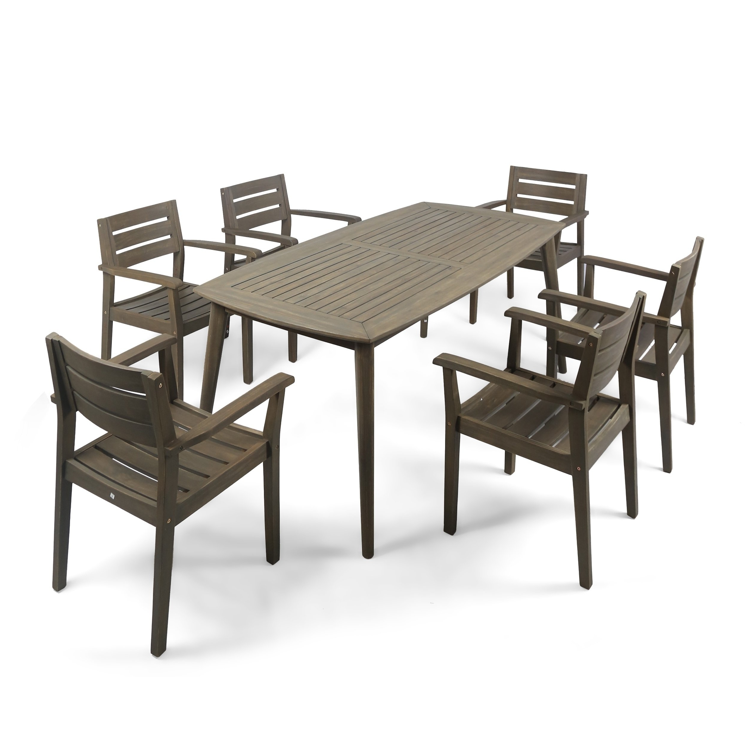 Shop Stamford Outdoor 7 Piece Rectangle Acacia Wood Dining Set With Regard To Favorite Laurent 7 Piece Rectangle Dining Sets With Wood And Host Chairs (View 21 of 25)