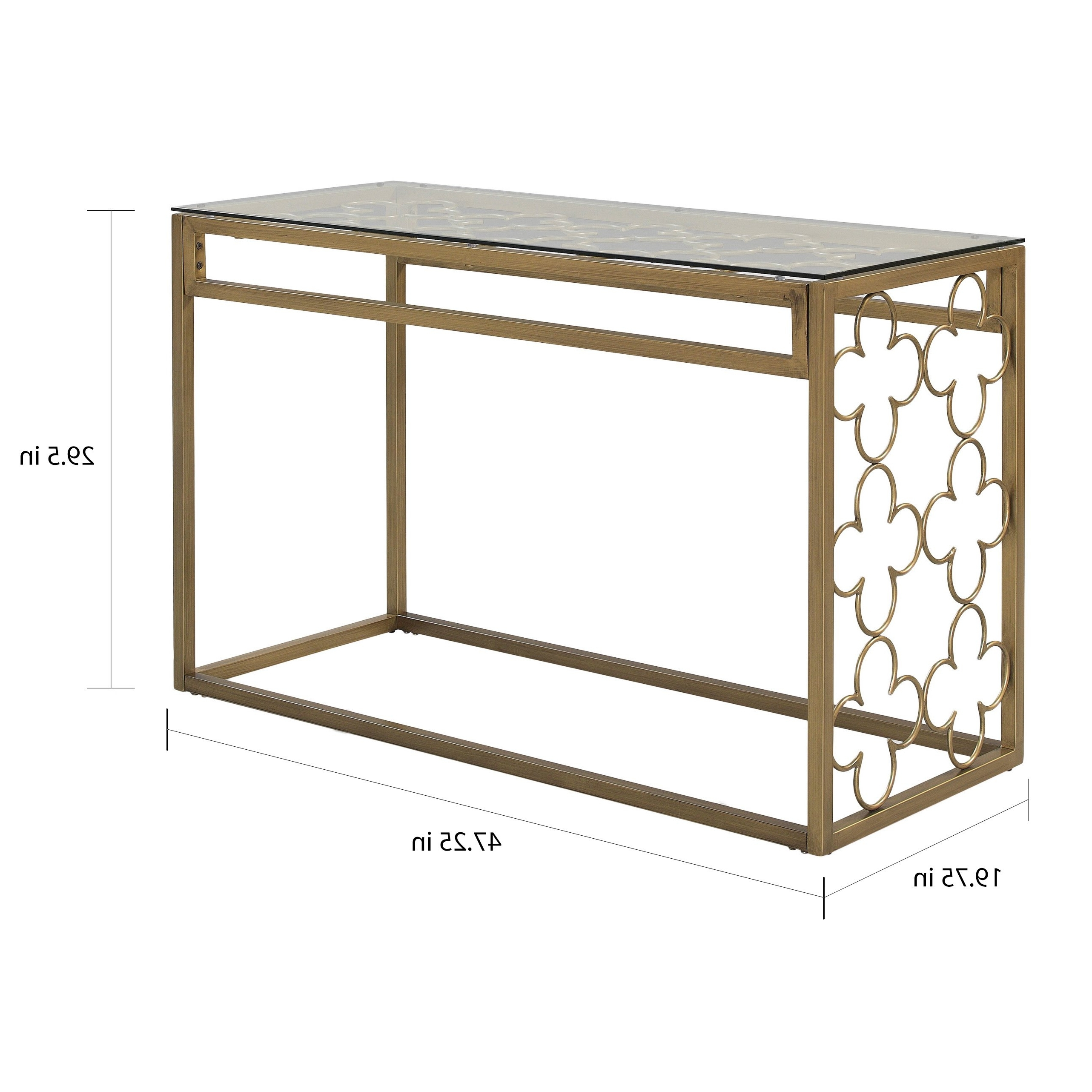 Shop The Curated Nomad Quatrefoil Goldtone Metal And Glass Sofa Inside Trendy Ina Pewter 60 Inch Counter Tables With Frosted Glass (View 19 of 25)