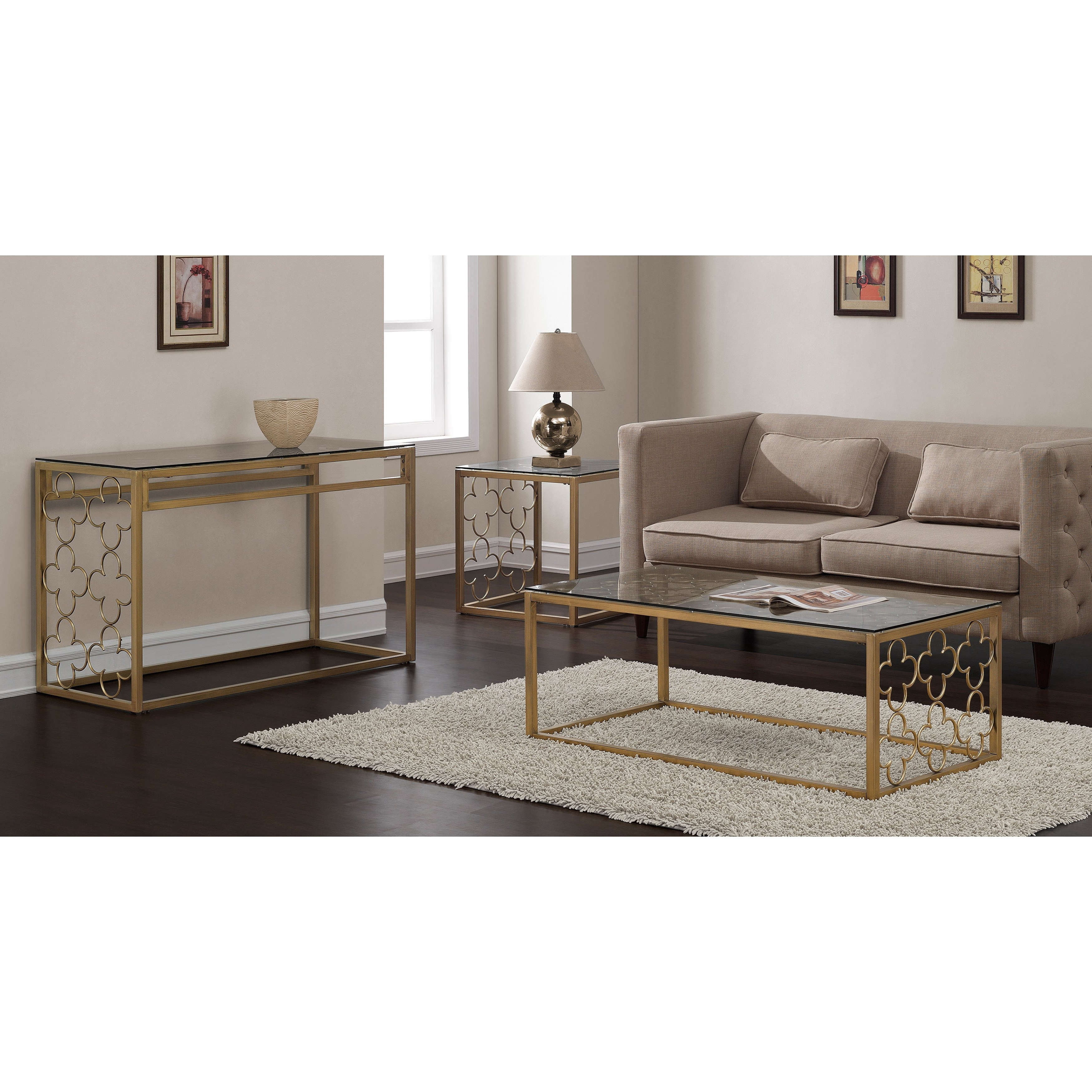 Shop The Curated Nomad Quatrefoil Goldtone Metal And Glass Sofa Throughout Popular Ina Pewter 60 Inch Counter Tables With Frosted Glass (View 5 of 25)