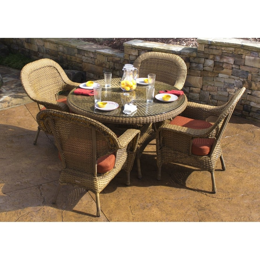 Shop Tortuga Outdoor Lexington 5 Piece Tan Wood Frame Wicker Patio With Regard To 2017 Outdoor Tortuga Dining Tables (View 6 of 25)