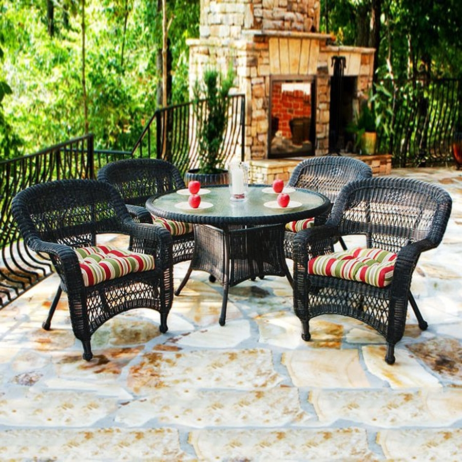 Shop Tortuga Outdoor Portside 5 Piece Brown Wood Frame Wicker Patio Intended For Most Recent Outdoor Tortuga Dining Tables (View 3 of 25)