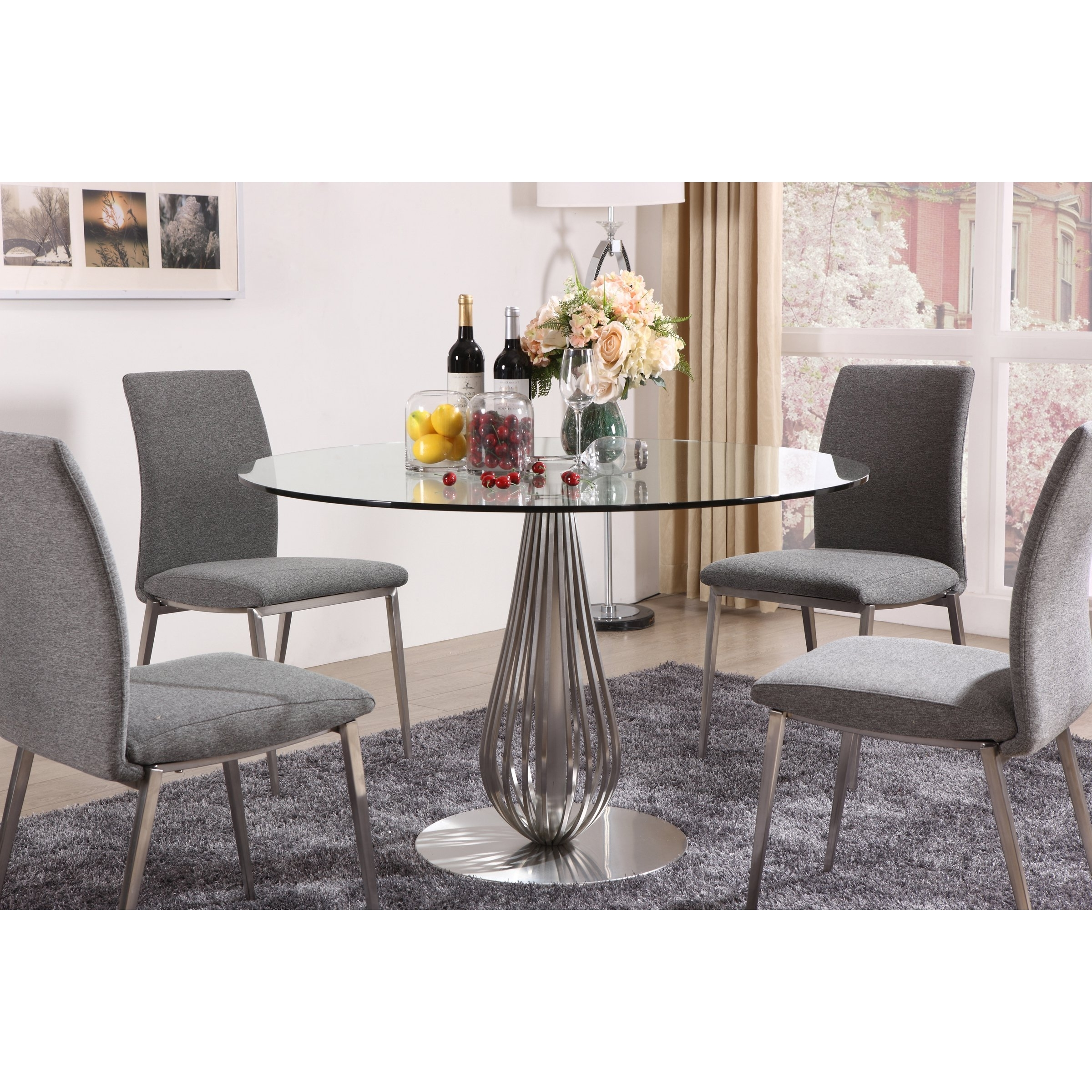 Shop Toscana Glass Round Dining Table – Silver – Free Shipping Today With Regard To Most Popular Toscana Dining Tables (View 9 of 25)