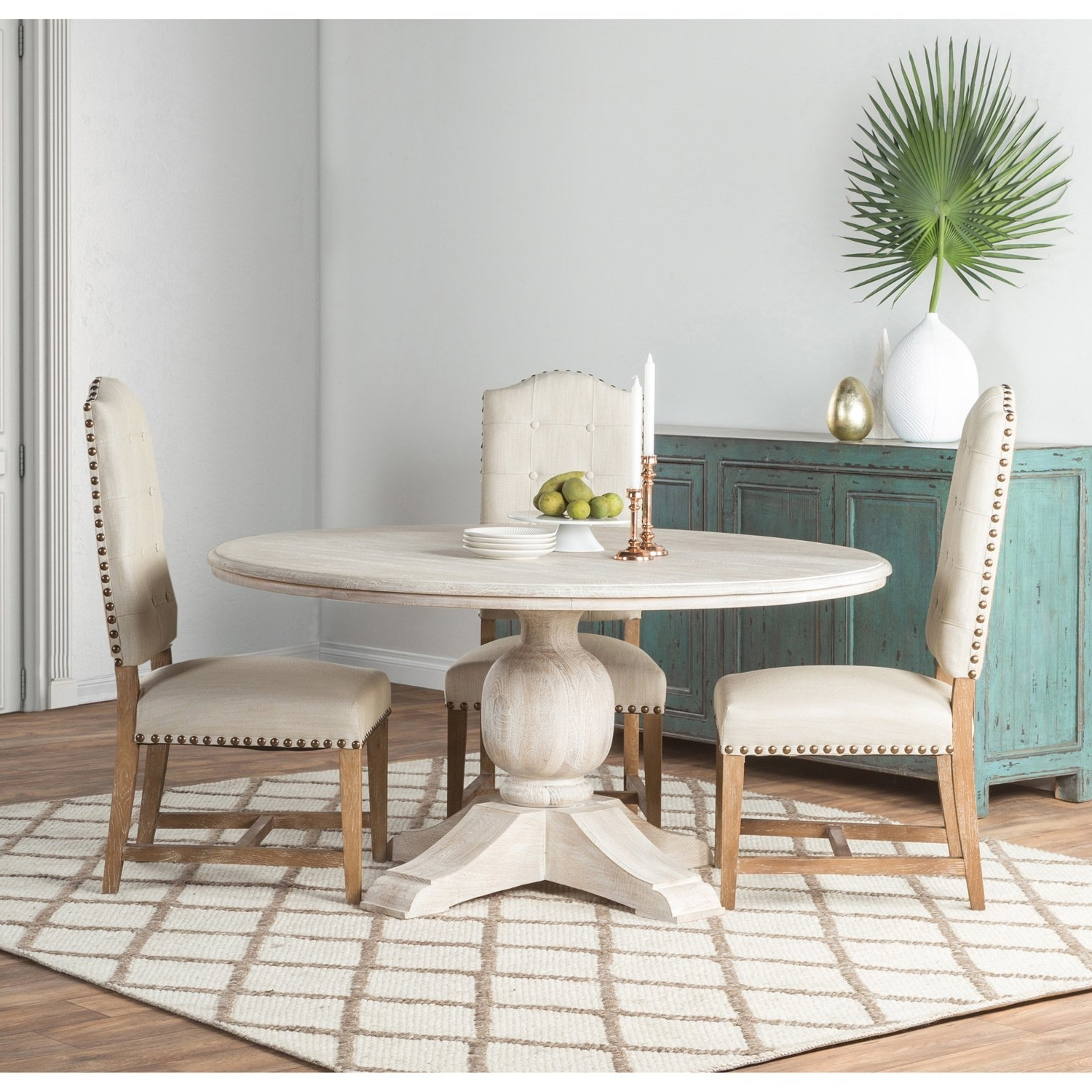 Shop Valencia Wood Antique White 60 Inch Dining Tablekosas Home Intended For Well Liked Valencia 5 Piece Round Dining Sets With Uph Seat Side Chairs (View 21 of 25)