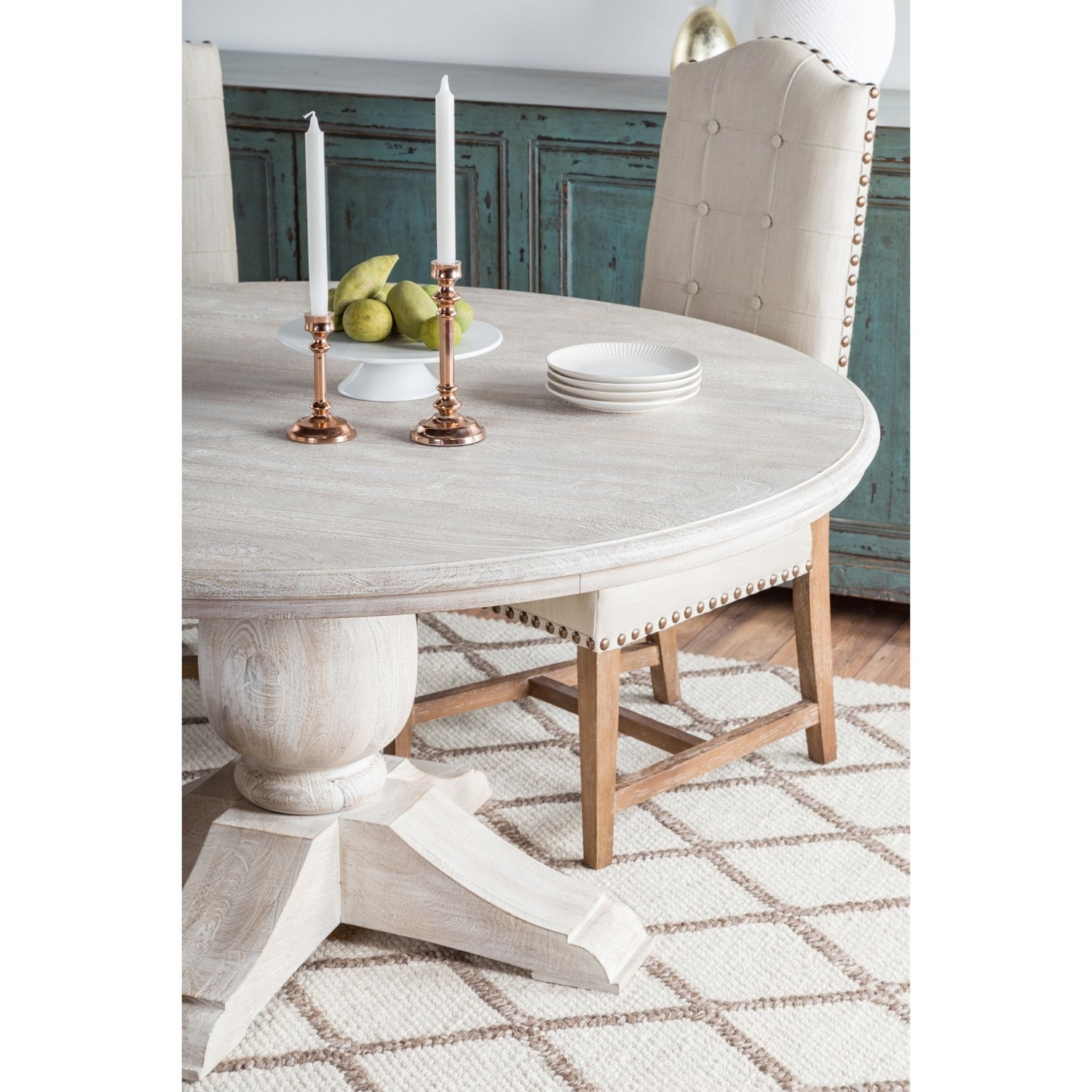 Shop Valencia Wood Antique White 60 Inch Dining Tablekosas Home Throughout Latest Valencia 5 Piece 60 Inch Round Dining Sets (View 5 of 25)