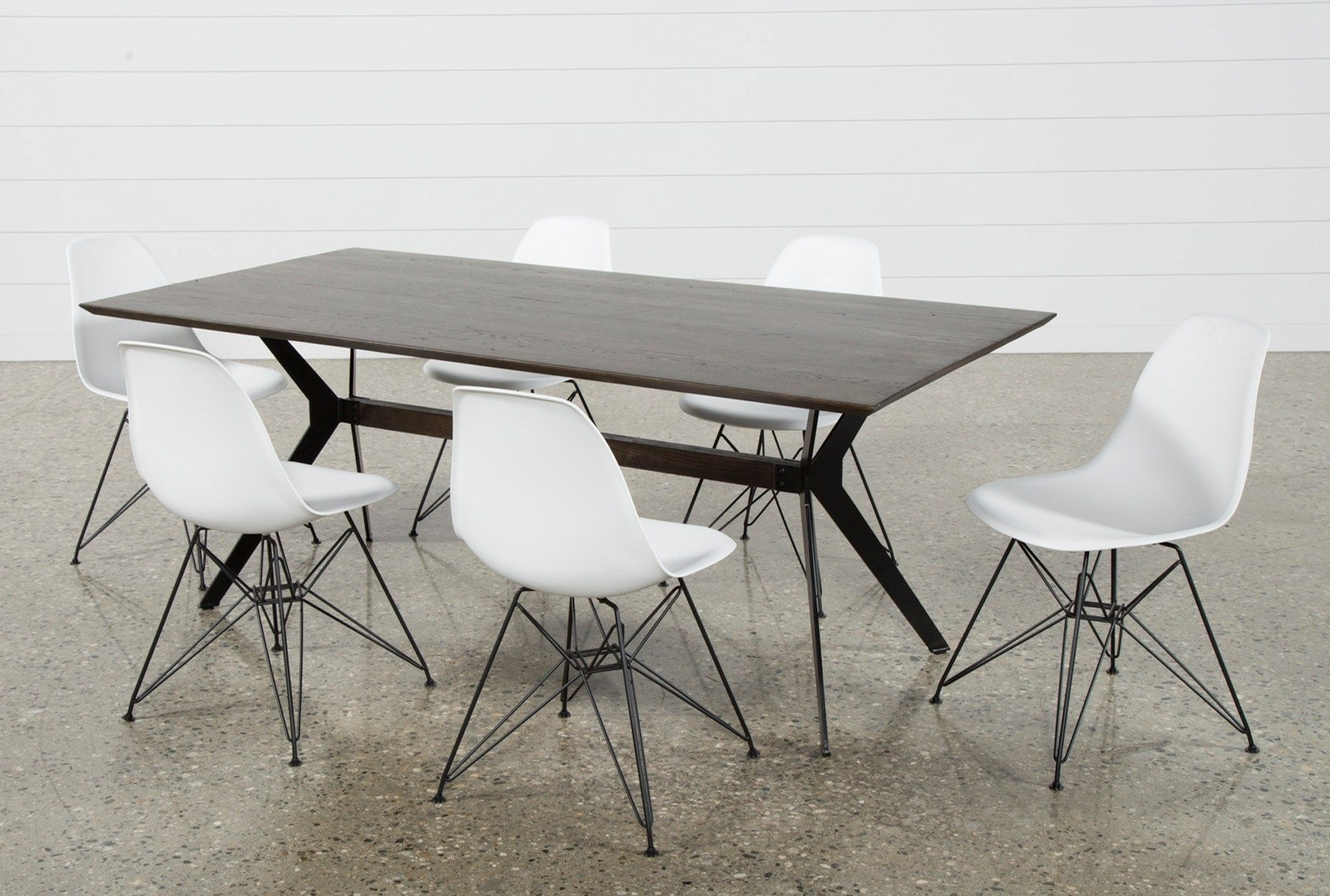 Side With Weaver Dark 7 Piece Dining Sets With Alexa White Side Chairs (View 17 of 25)