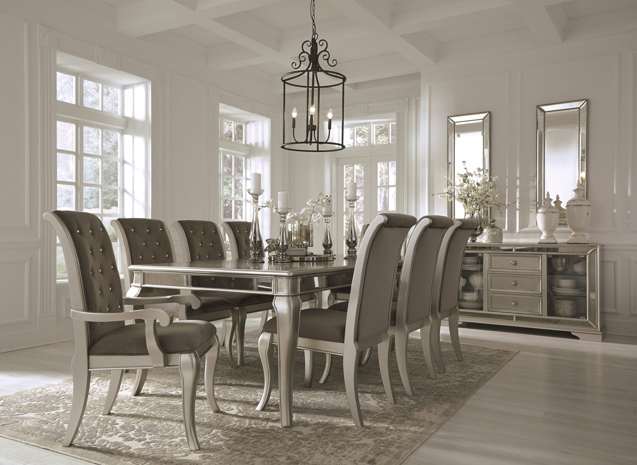 Signature Designashley Birlanny Silver Rectangular Extendable Throughout Trendy Extendable Dining Tables Sets (View 5 of 25)