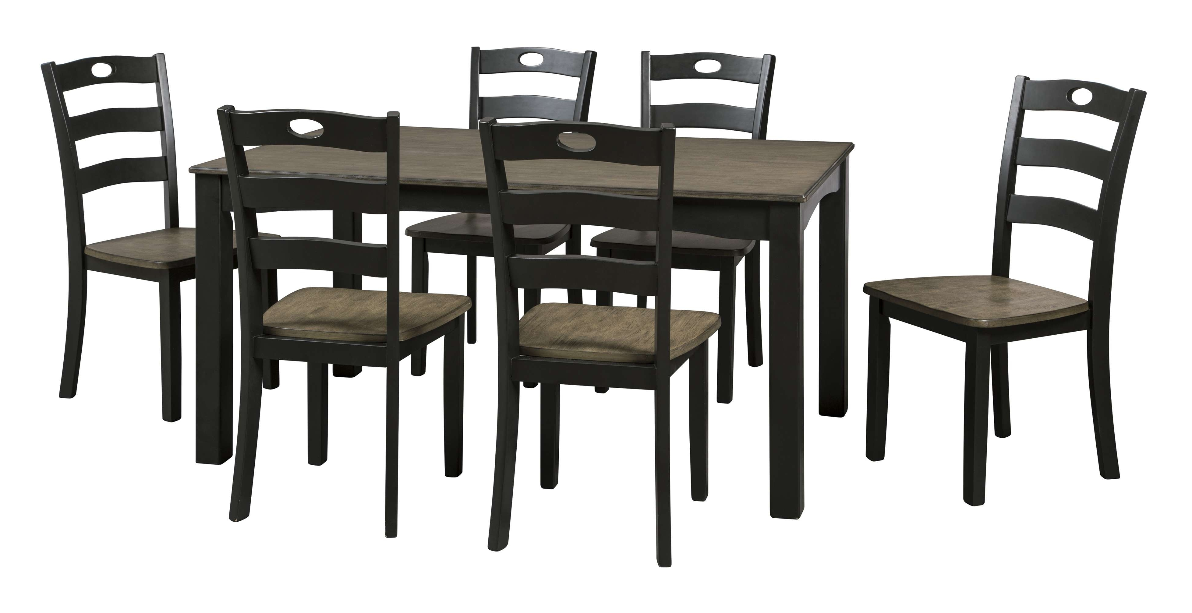 Signature Designashley Froshburg Grayish Brown & Black 7 Piece Within Well Known Jaxon 7 Piece Rectangle Dining Sets With Wood Chairs (View 23 of 25)