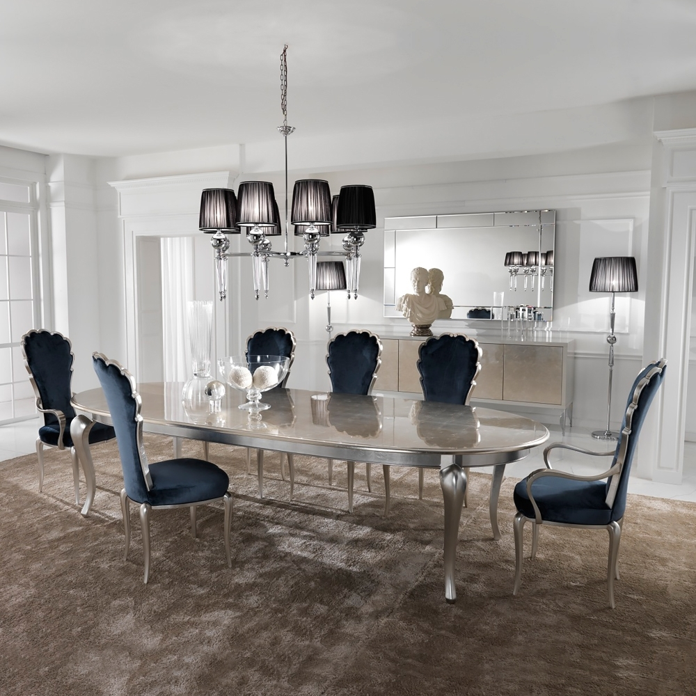 Silver Leaf Dining Set Including Navy Blue Velvet Chairs (View 13 of 25)