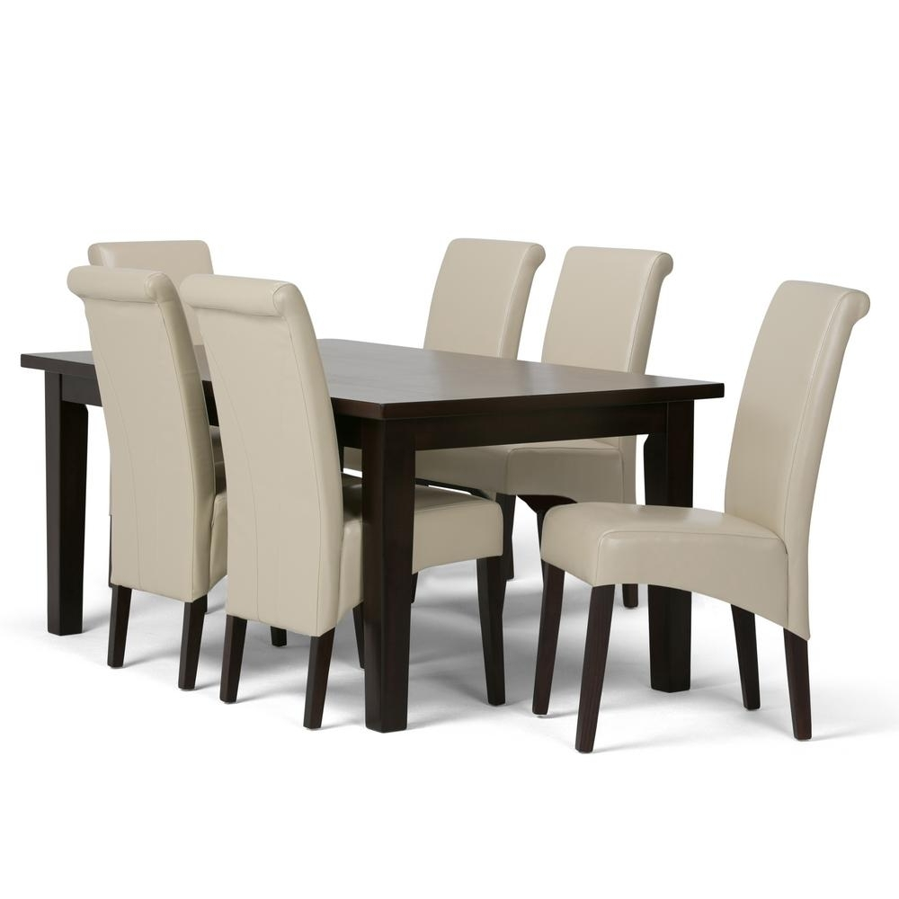 Simpli Home Avalon 7 Piece Satin Cream Dining Set Axcds7 Avl Cr Regarding Preferred Cream Dining Tables And Chairs (View 20 of 25)