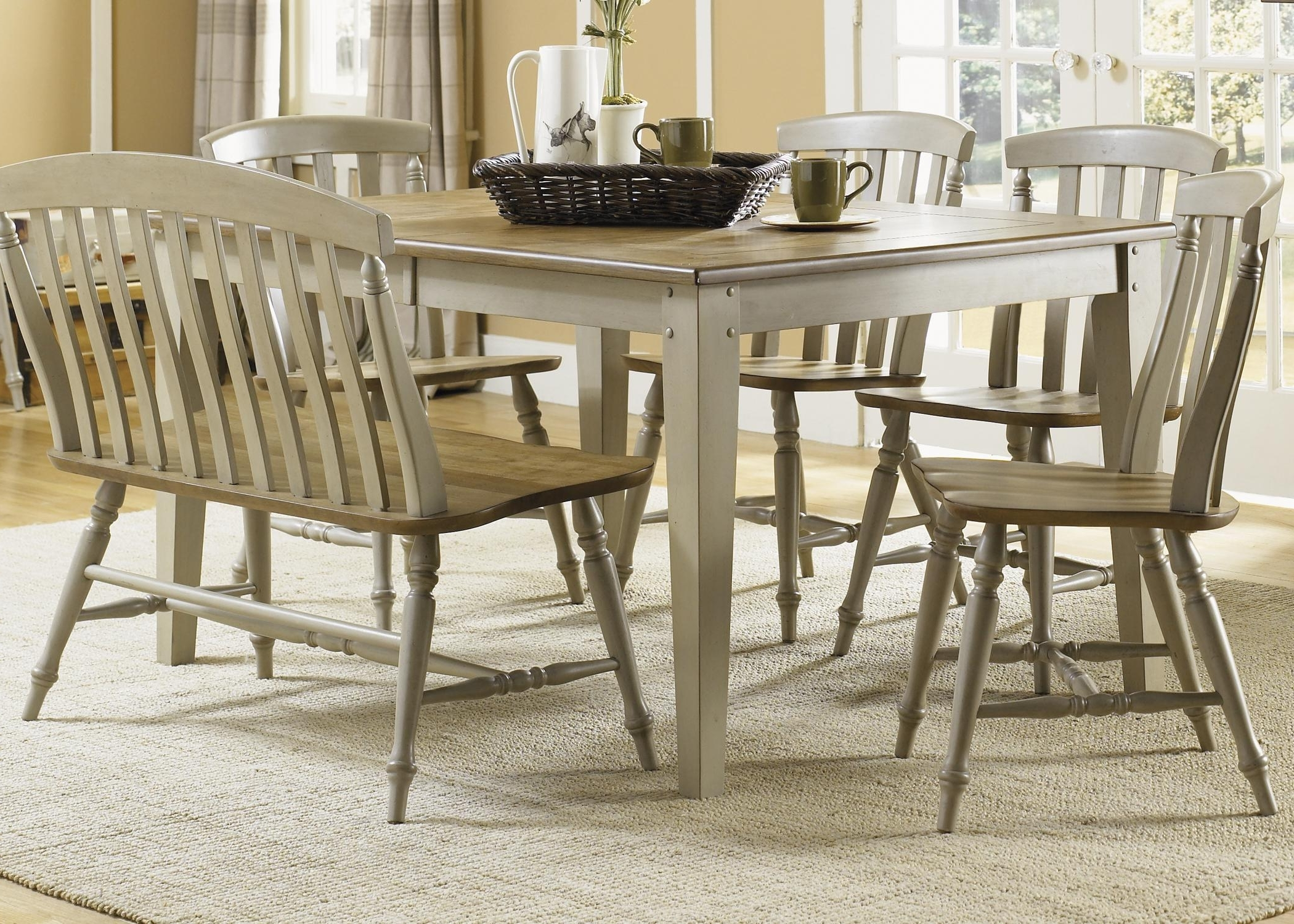Six Piece Dining Table Set With Chairs And Benchliberty Pertaining To Recent 6 Seat Dining Table Sets (View 18 of 25)