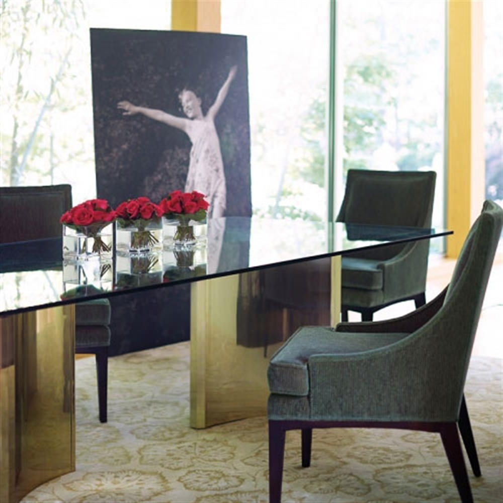 Sleek Dining Tables Inside 2018 Ellen Modern Sleek Gold Double Pedestal Glass Dining Table (View 12 of 25)