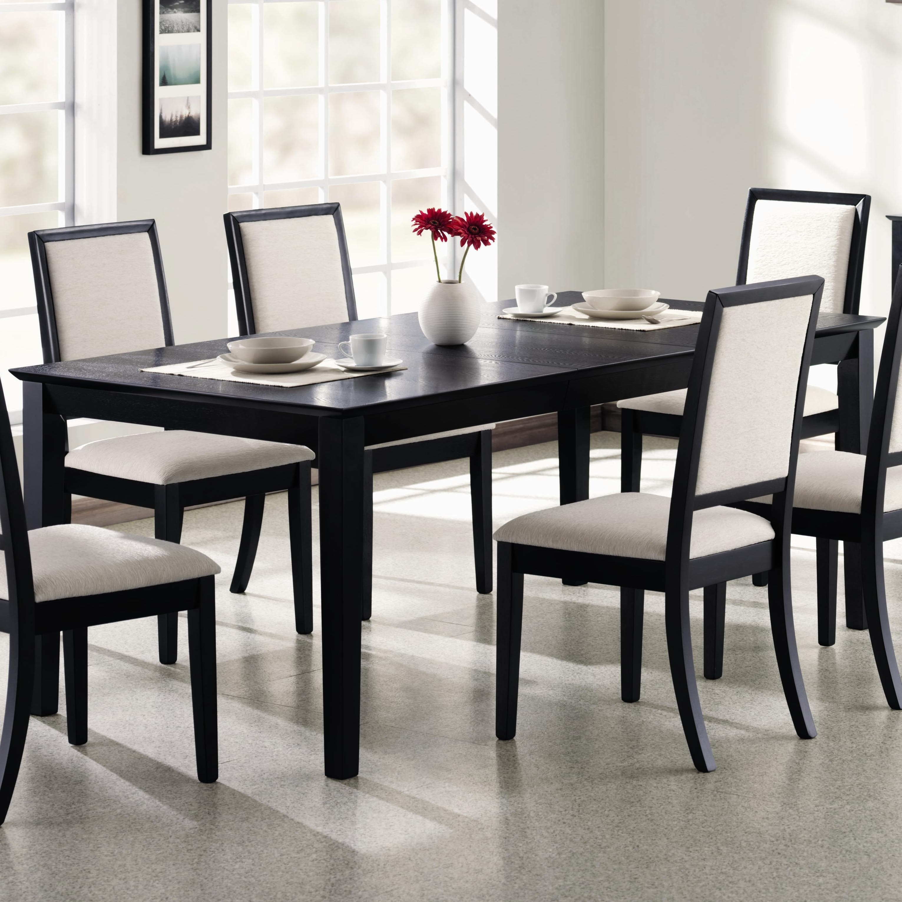 """Sleek Dining Tables Regarding Preferred Coaster Lexton Rectangular Dining Table With 18"""" Leaf (View 22 of 25)"""