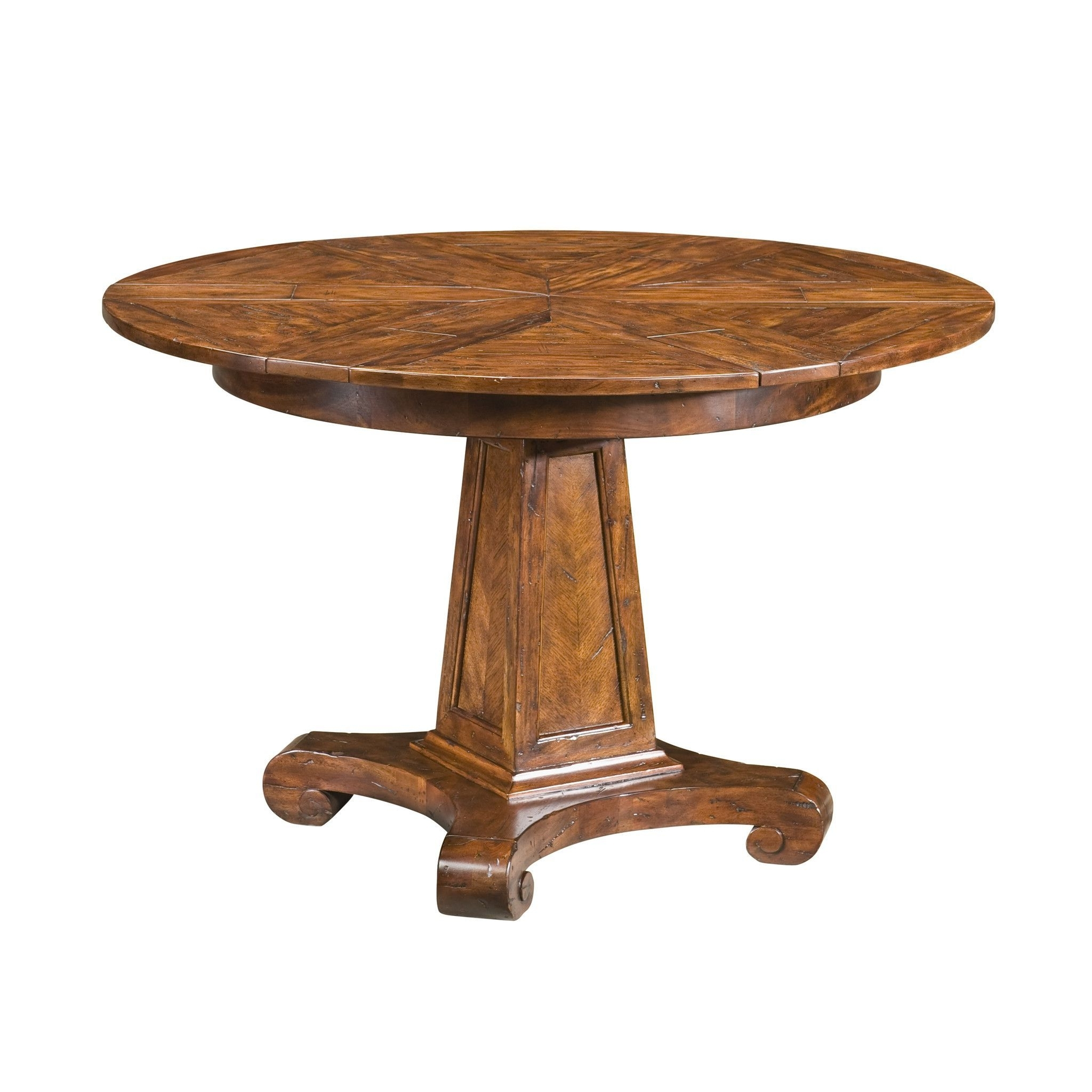 Small Antiqued Circular Extending Dining Table (View 24 of 25)