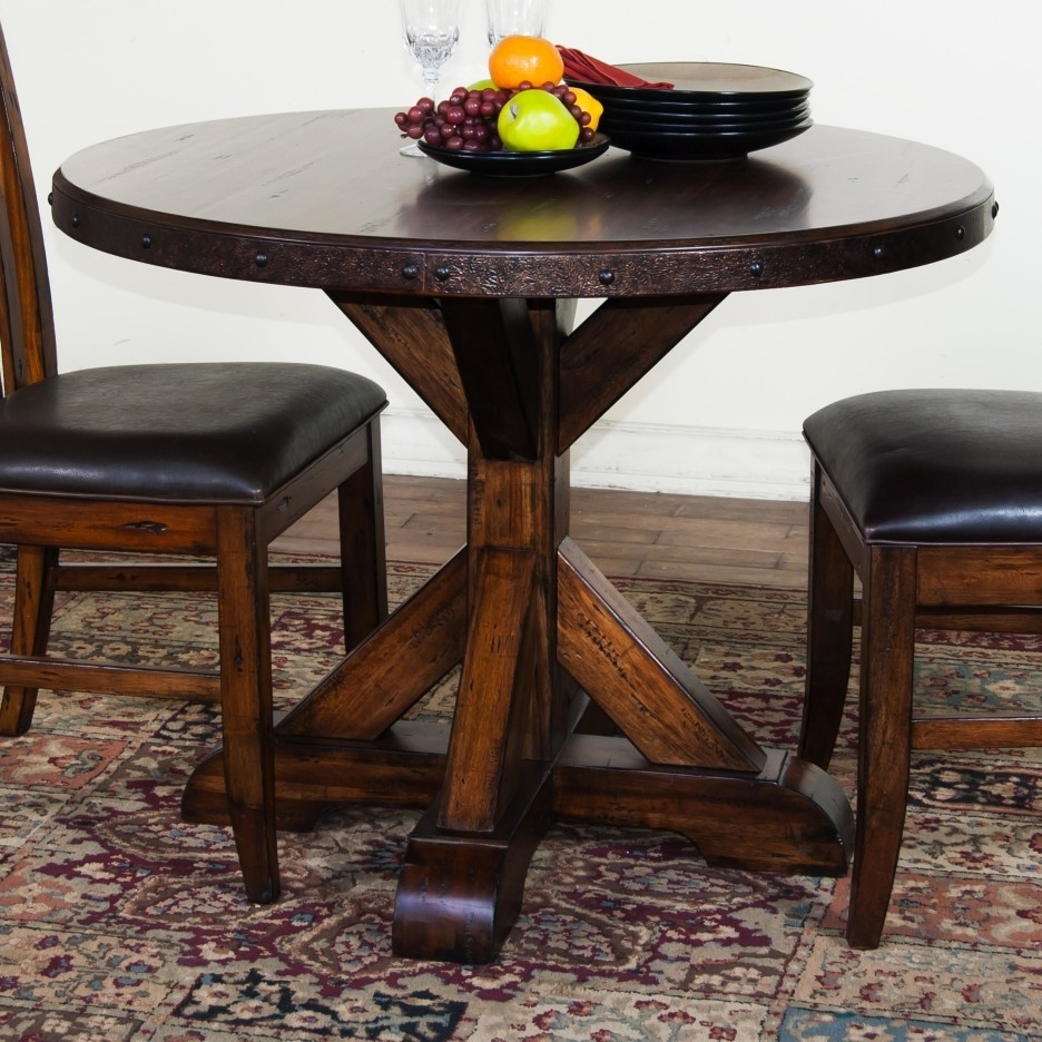 Small Dark Wood Dining Tables Regarding 2017 Restoration Rustic Round Dining Table (View 19 of 25)