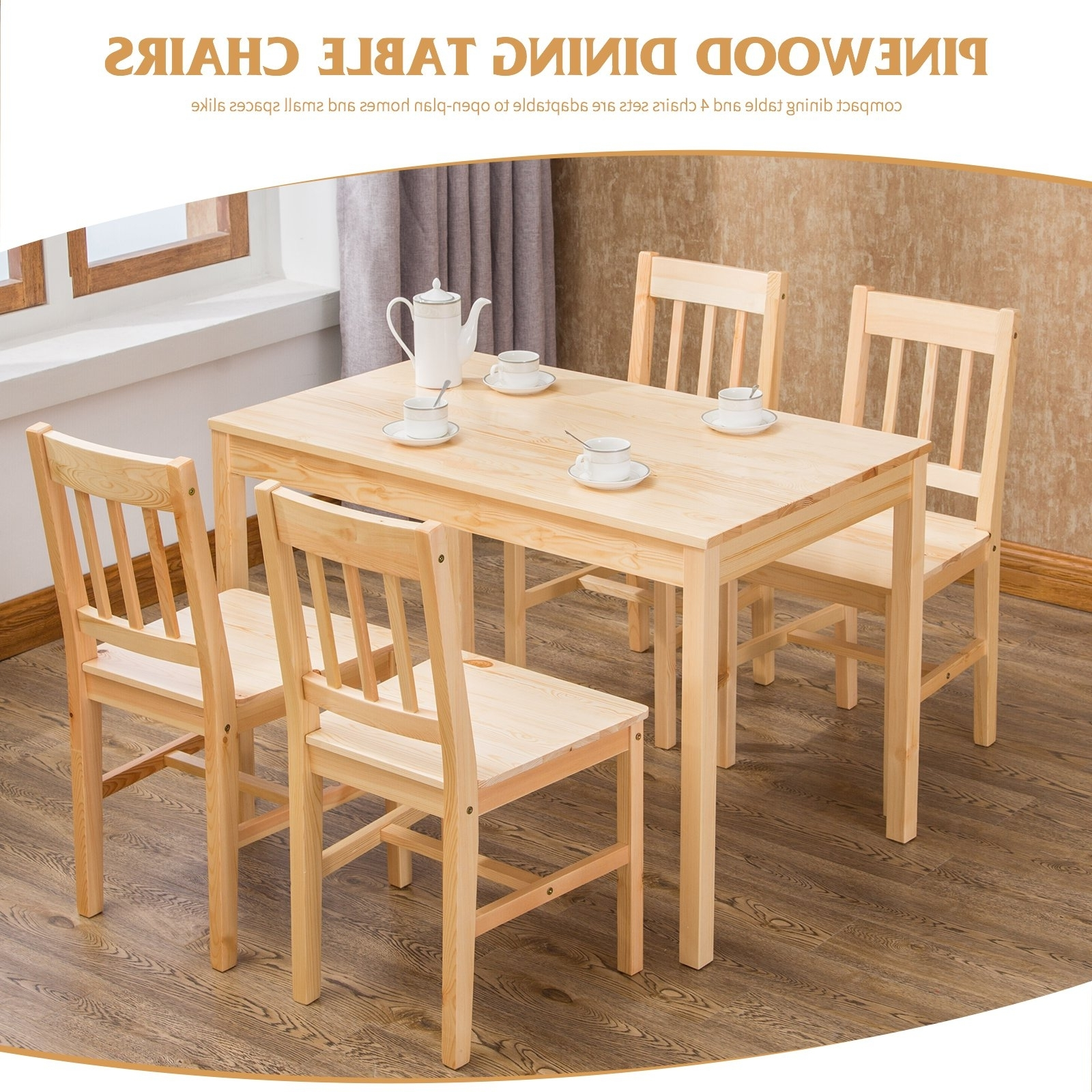 Small Dining Table And Chairs Set Solid Pine Wood Kitchen Furniture Regarding Most Recent Compact Dining Tables And Chairs (View 22 of 25)