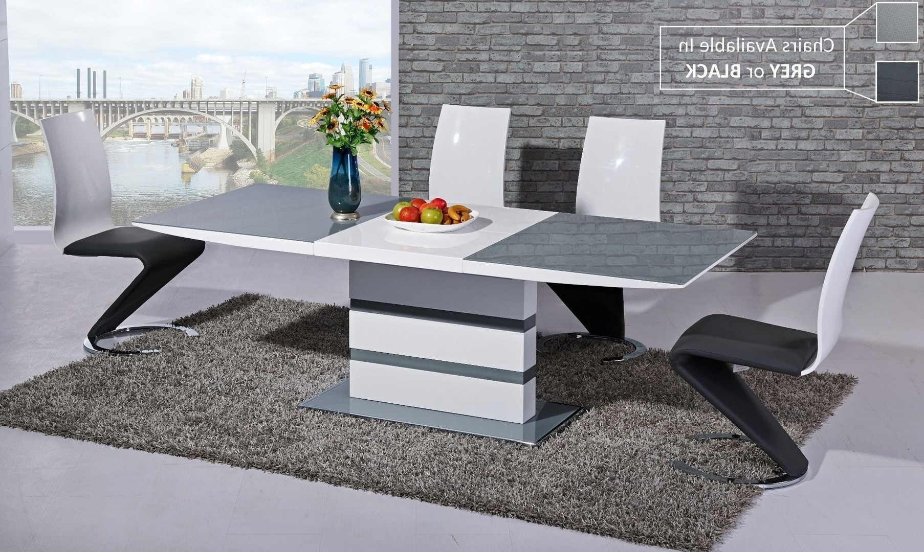 Small Extending Dining Tables And 4 Chairs For Most Popular Small Extending Grey Glass High Gloss Dining Table And 4 Chairs (View 19 of 25)