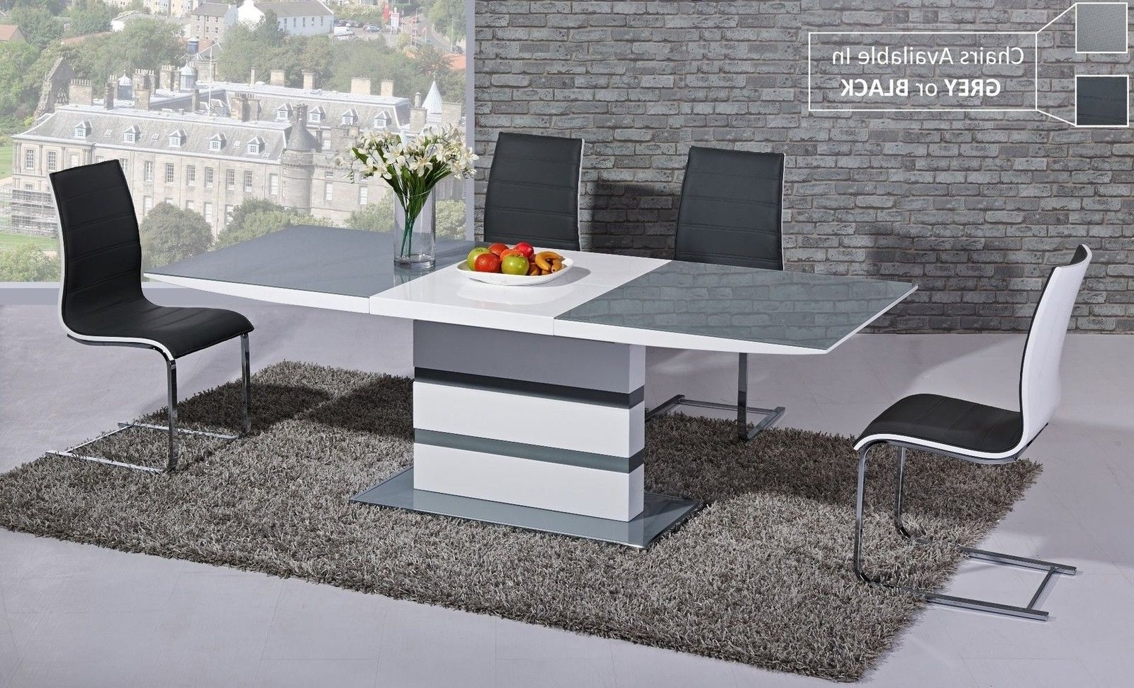Small Extending Grey Glass White High Gloss Dining Table And 4 For Trendy White Gloss Dining Sets (View 12 of 25)