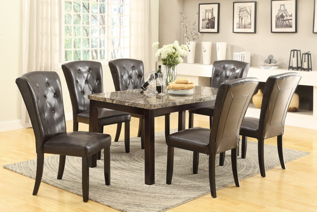 Small Marble Effect Dining Table With 6 Chairs Plus Top Together For In Recent Marble Effect Dining Tables And Chairs (View 24 of 25)