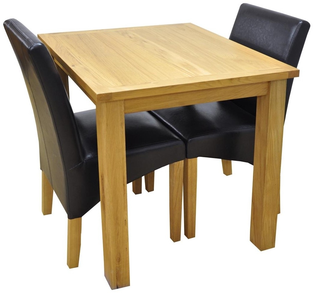 Small Oak Dining Tables With Regard To Well Known Weston Oak Small Fixed Top Table + 2 York Brown Chairs Setweston Oak (View 6 of 25)