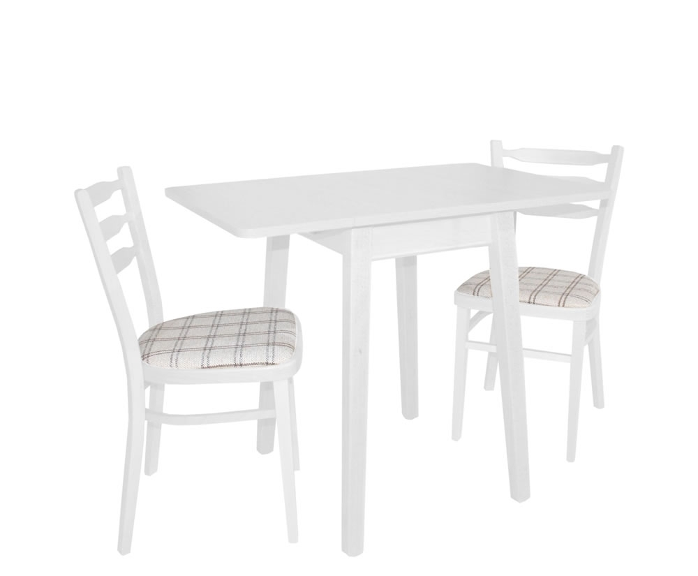 Small Rectangular Wood Double Drop Leaf Dining Table With 4 Chair In Current Small White Dining Tables (View 6 of 25)