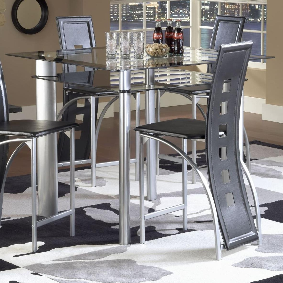 Smoked Glass Dining Tables And Chairs Inside Well Liked Bernards Astro Smoked Glass Counter Height Pub Table – Black / Satin (View 19 of 25)