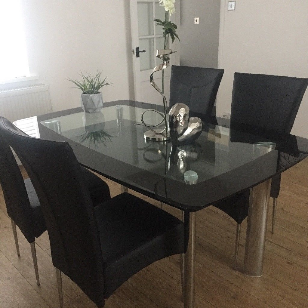Smoked Glass With Black Glass Edge Dining Table (Two Tiers Of Glass For 2017 Dining Tables Black Glass (View 23 of 25)
