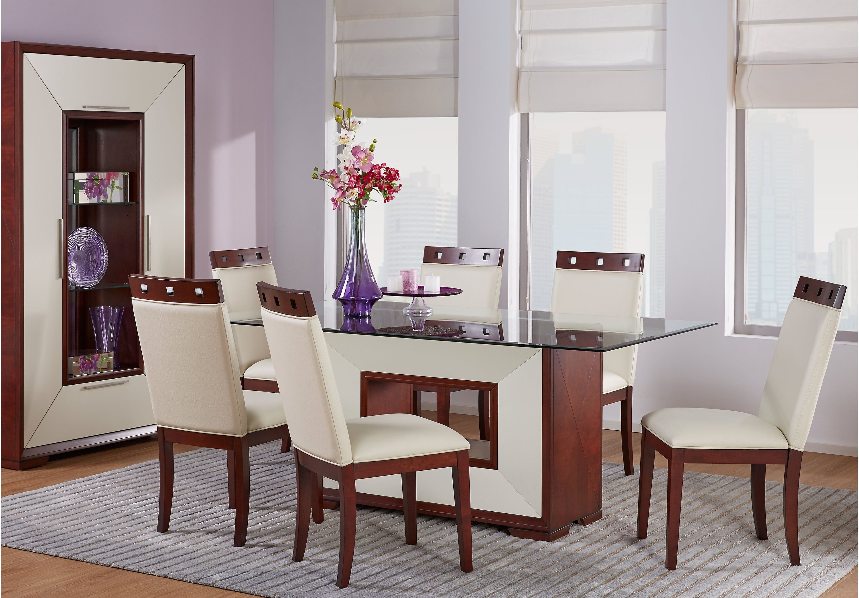 Sofia Vergara Savona Ivory 5 Pc Rectangle Dining Room With Glass Top With Regard To Well Known Palazzo 7 Piece Dining Sets With Pearson Grey Side Chairs (View 23 of 25)