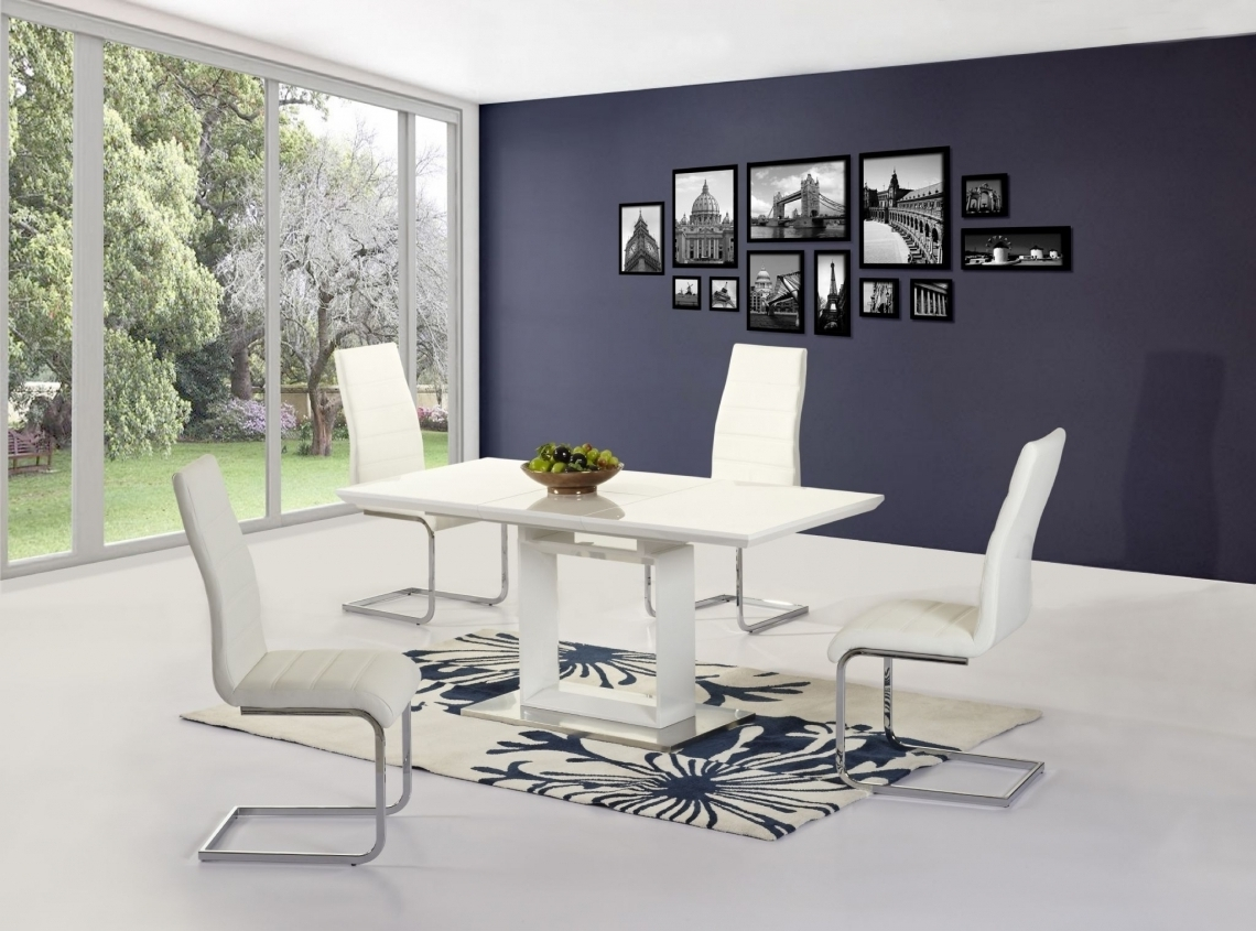Solar White Extending Dining Table With 4 Angela Chairs – Modish Intended For Famous Extending Dining Tables And 4 Chairs (View 22 of 25)