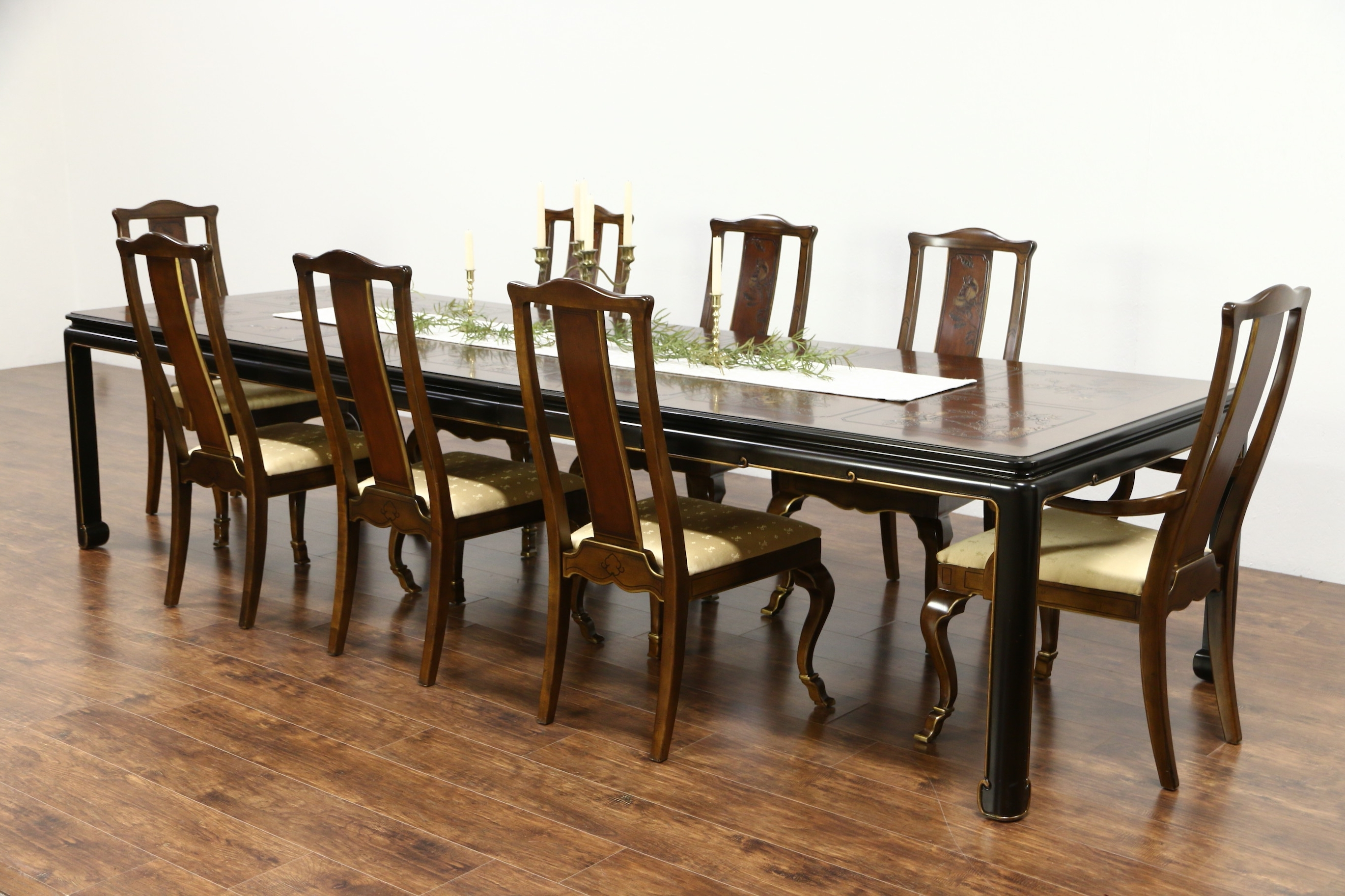 Sold – Drexel Heritage Connoisseur Chinese Motif Vintage Dining Set Inside Famous Dining Tables And 8 Chairs (View 8 of 25)