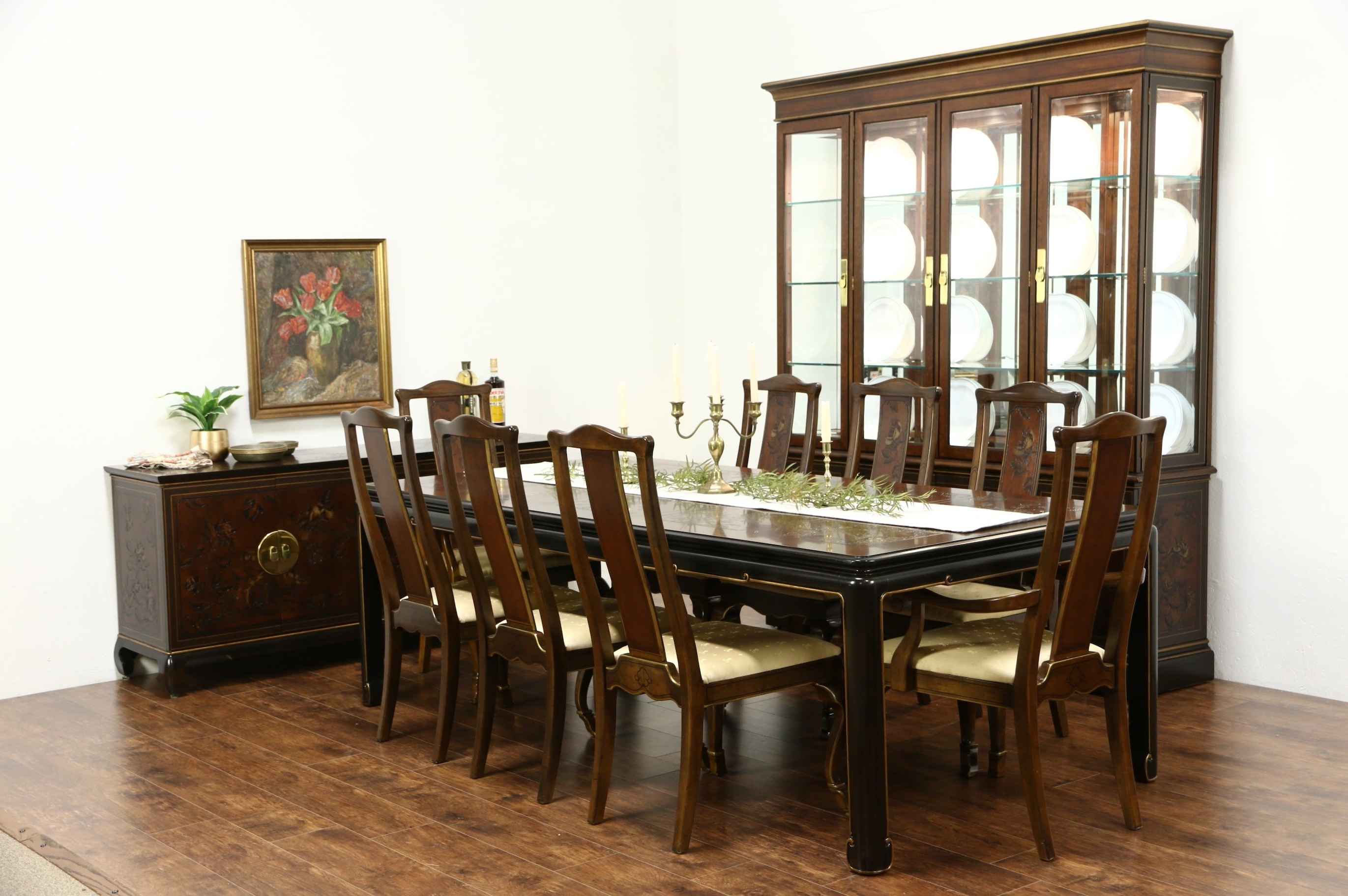 Sold – Drexel Heritage Connoisseur Chinese Motif Vintage Dining Set Intended For Recent 8 Chairs Dining Sets (View 5 of 25)