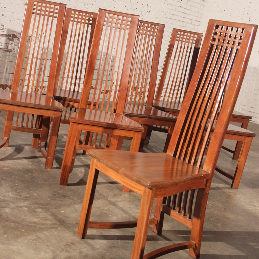 Sold – Mackintosh Style High Back Teak Dining Chairs Vintage Circa Intended For Trendy High Back Dining Chairs (View 15 of 25)