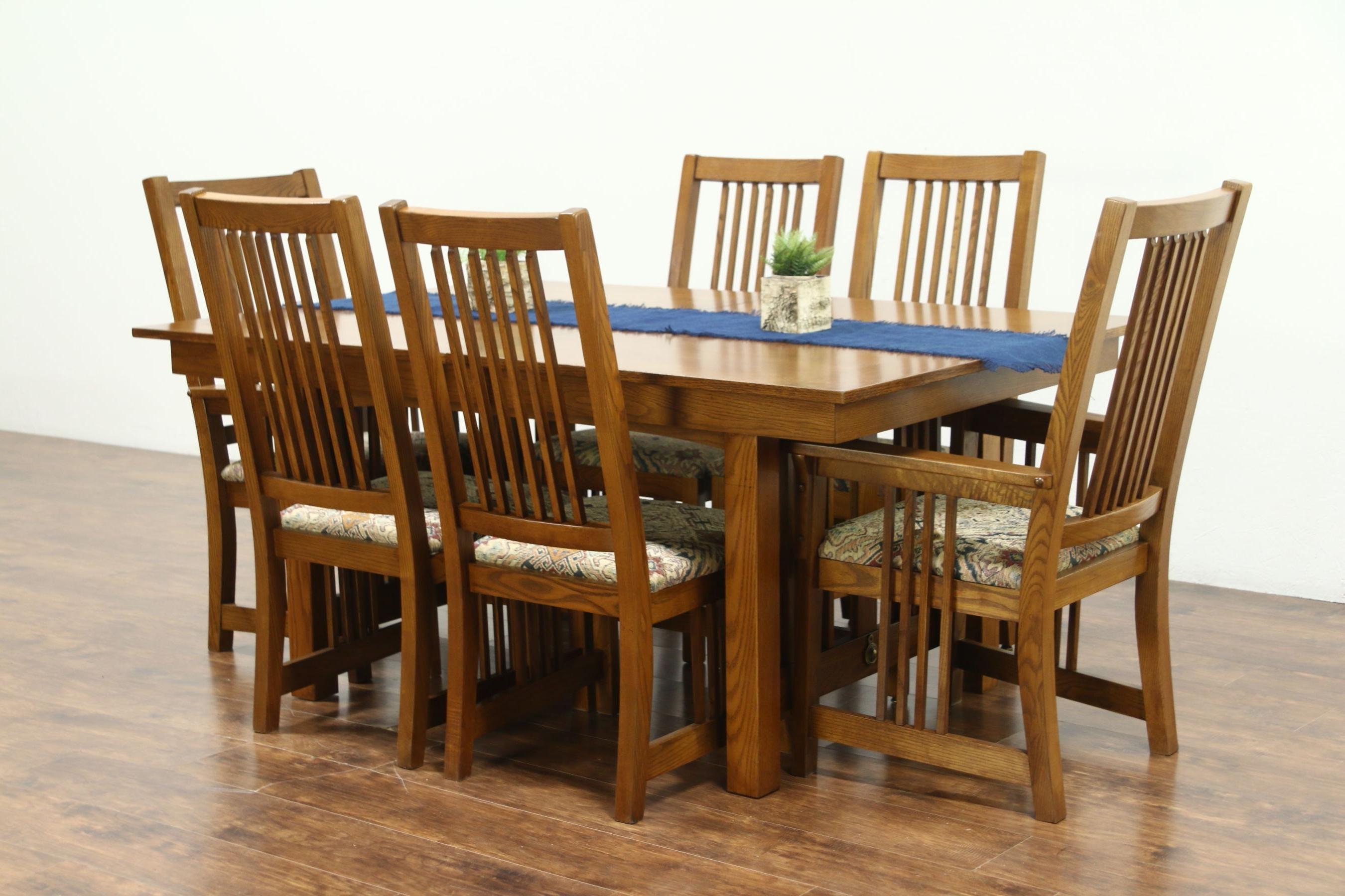 Sold – Prairie Or Craftsman Vintage Oak Dining Set, Table, 2 Leaves In Favorite Oak Dining Set 6 Chairs (View 14 of 25)