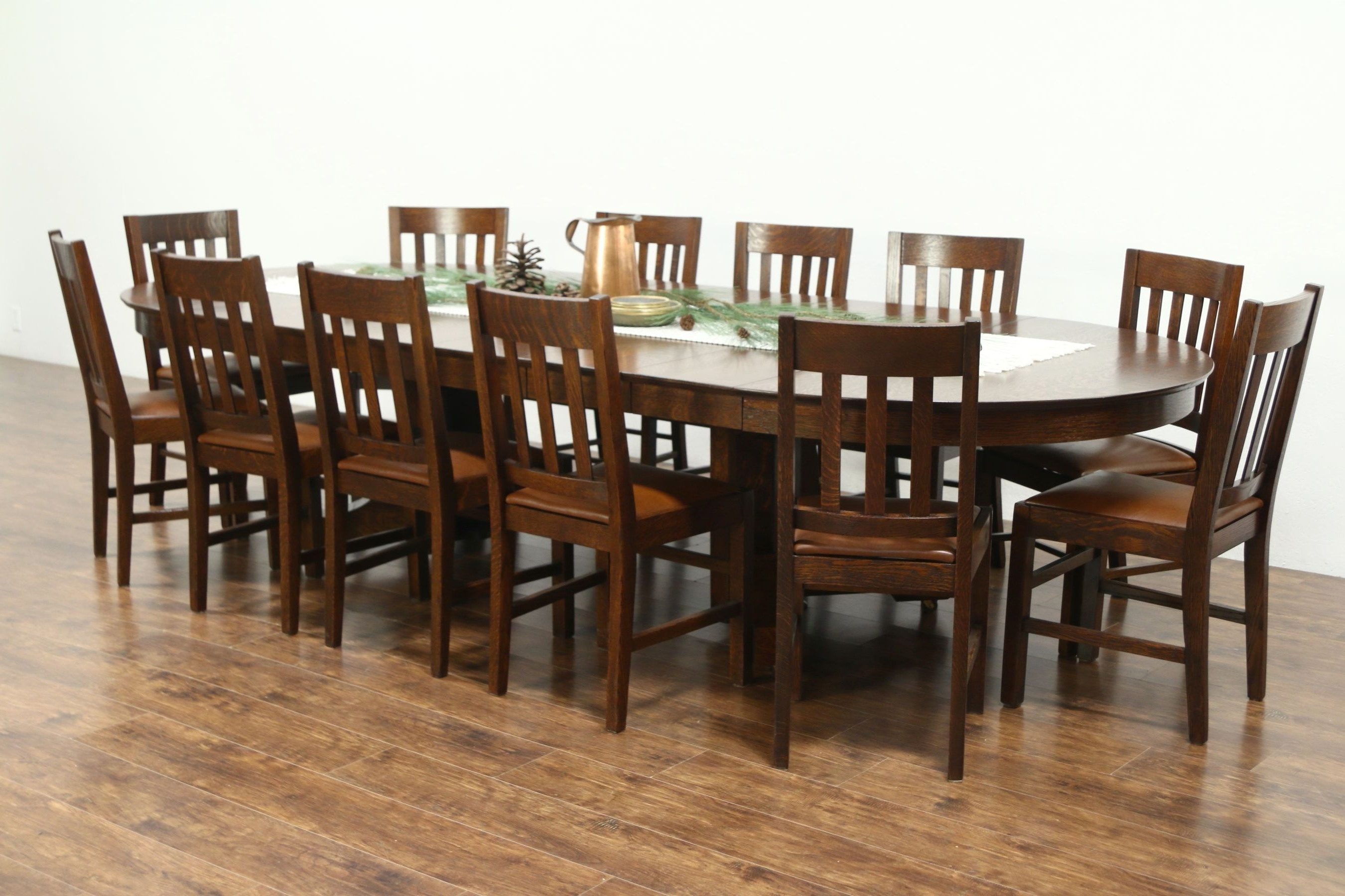 """Sold – Round 54"""" Quarter Sawn Oak Antique Craftsman Dining Table, 6 With Favorite Craftsman Round Dining Tables (View 23 of 25)"""