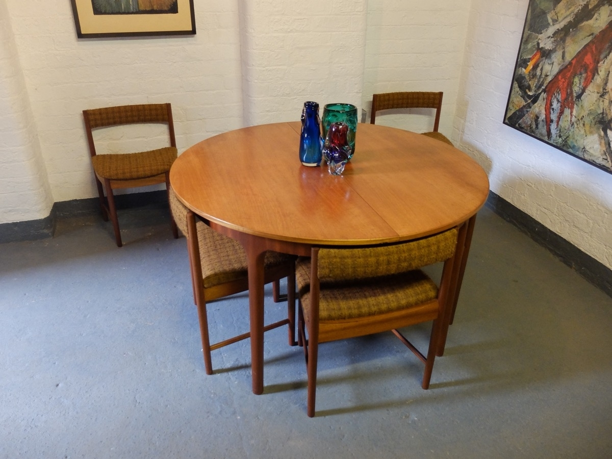Sold : Sold Teak Round Extending Dining Table With 6 Chairsmcintosh Intended For Most Recent Round Teak Dining Tables (View 16 of 25)