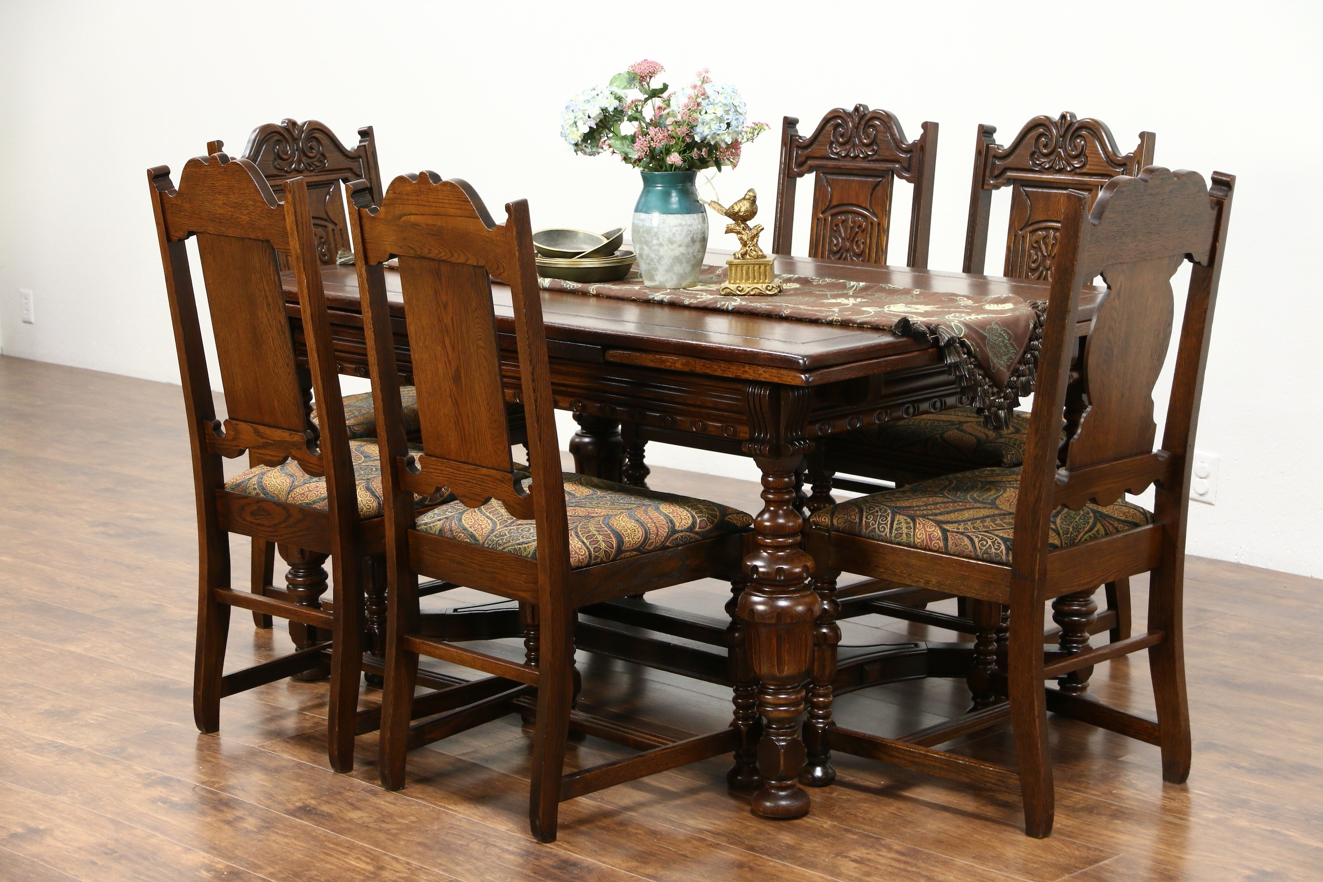Sold – Tudor 1925 Antique Carved Oak Dining Set, Table, 6 Chairs For Trendy Oak Dining Set 6 Chairs (View 6 of 25)