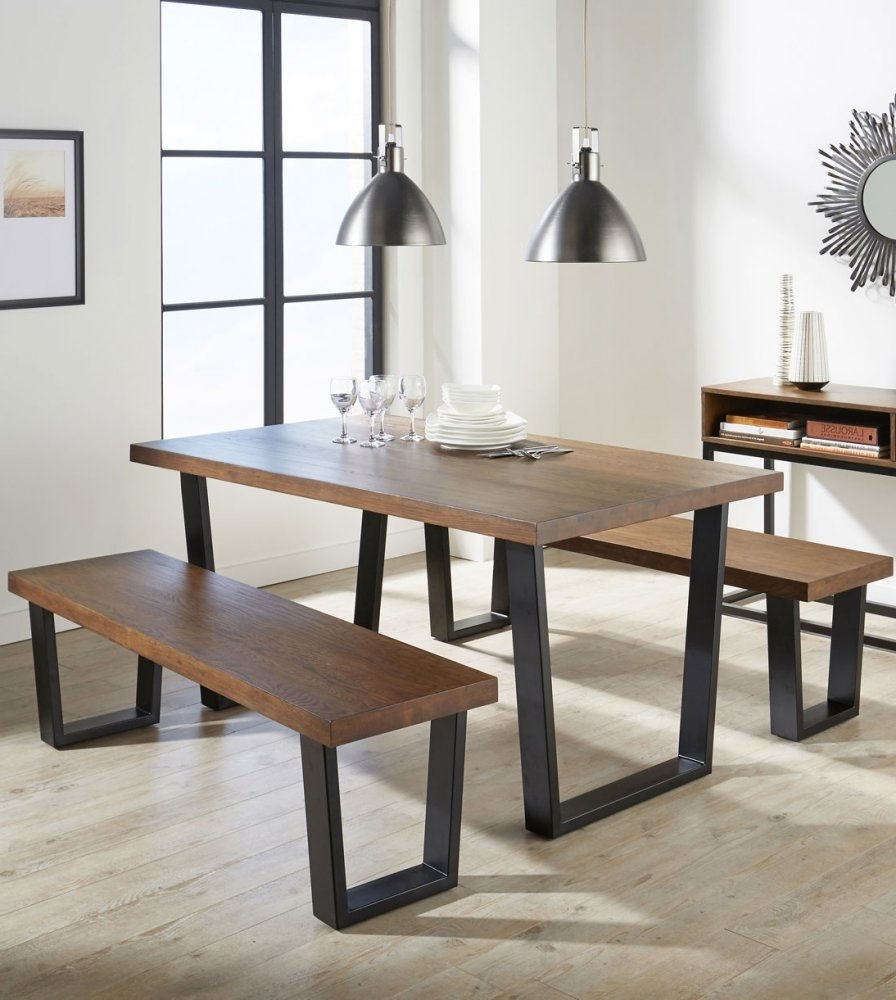 Solid Dark Wood Dining Tables With Regard To Most Up To Date Aloha Dining Table Made Of Solid Oak Industrial Design (View 16 of 25)