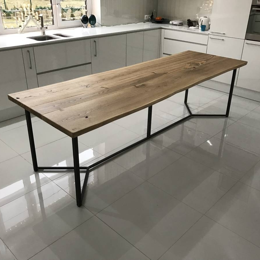 Solid Live Edge Oak Industrial Dining Tablecosywood Pertaining To Fashionable Dining Tables (View 22 of 25)
