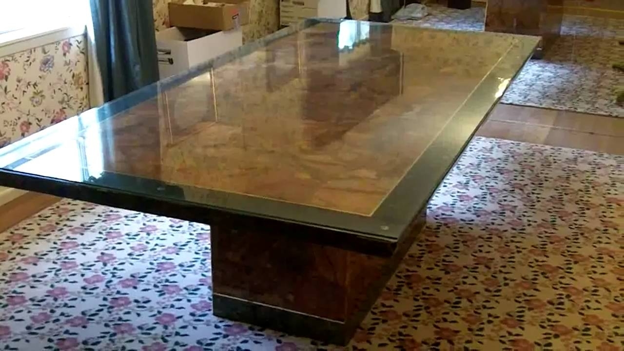 Solid Marble Dining Tables With Most Popular Solid Marble Dining Table – 4X8 W/emerald Border – Youtube (View 22 of 25)