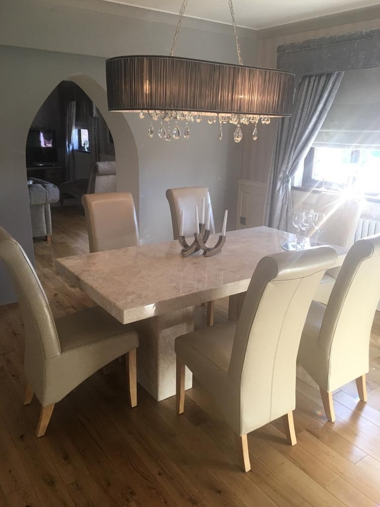 Solid Marble Dining Tables With Regard To Best And Newest Cream Solid Marble Dining Table With 6 Cream Scroll Back Chairs (View 12 of 25)