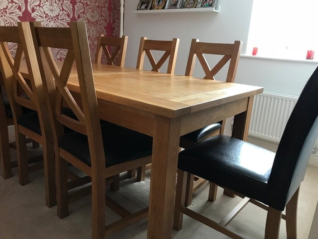 Solid Oak Dining Table And 8 Chairs (Extends From 6 To 9 Feet X  (View 15 of 25)